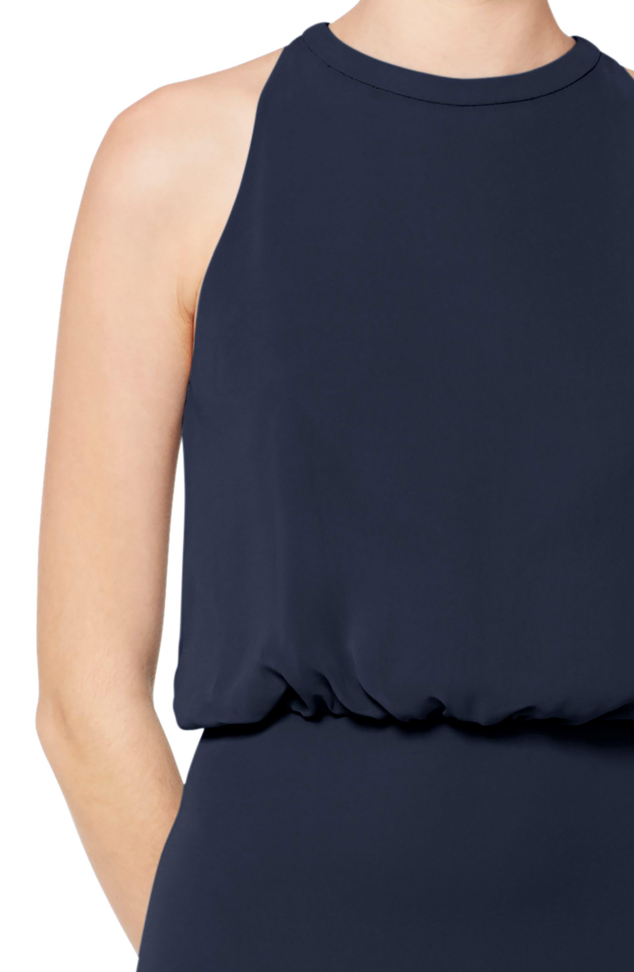 #LEVKOFF, Halter Neck Blouson Bodice Chiffon Evening Dress, Alternate thumbnail 3, color, NAVY