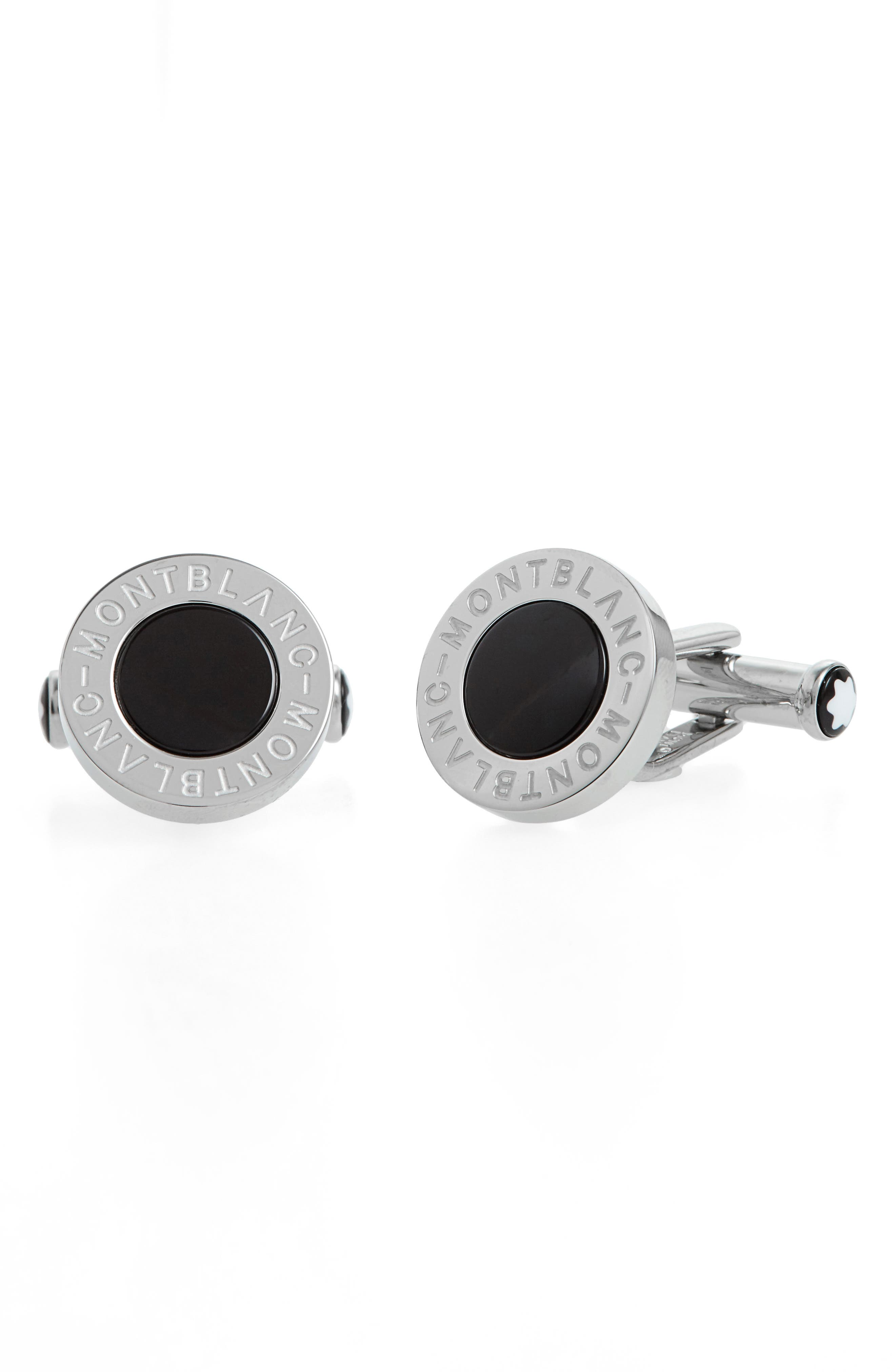 MONTBLANC, Onyx Cuff Links, Main thumbnail 1, color, BLACK
