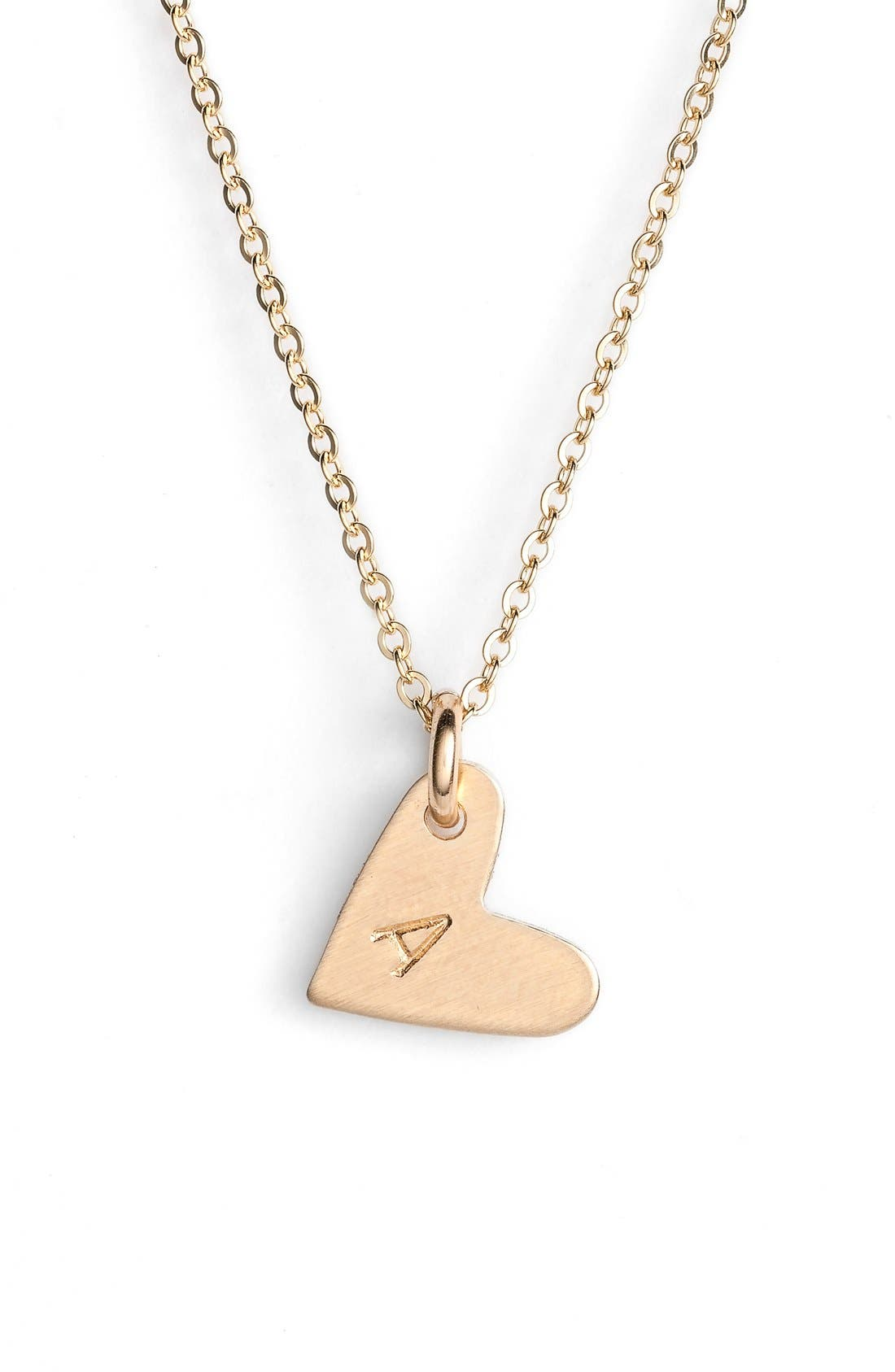 NASHELLE, 14k-Gold Fill Initial Mini Heart Pendant Necklace, Main thumbnail 1, color, GOLD/ A