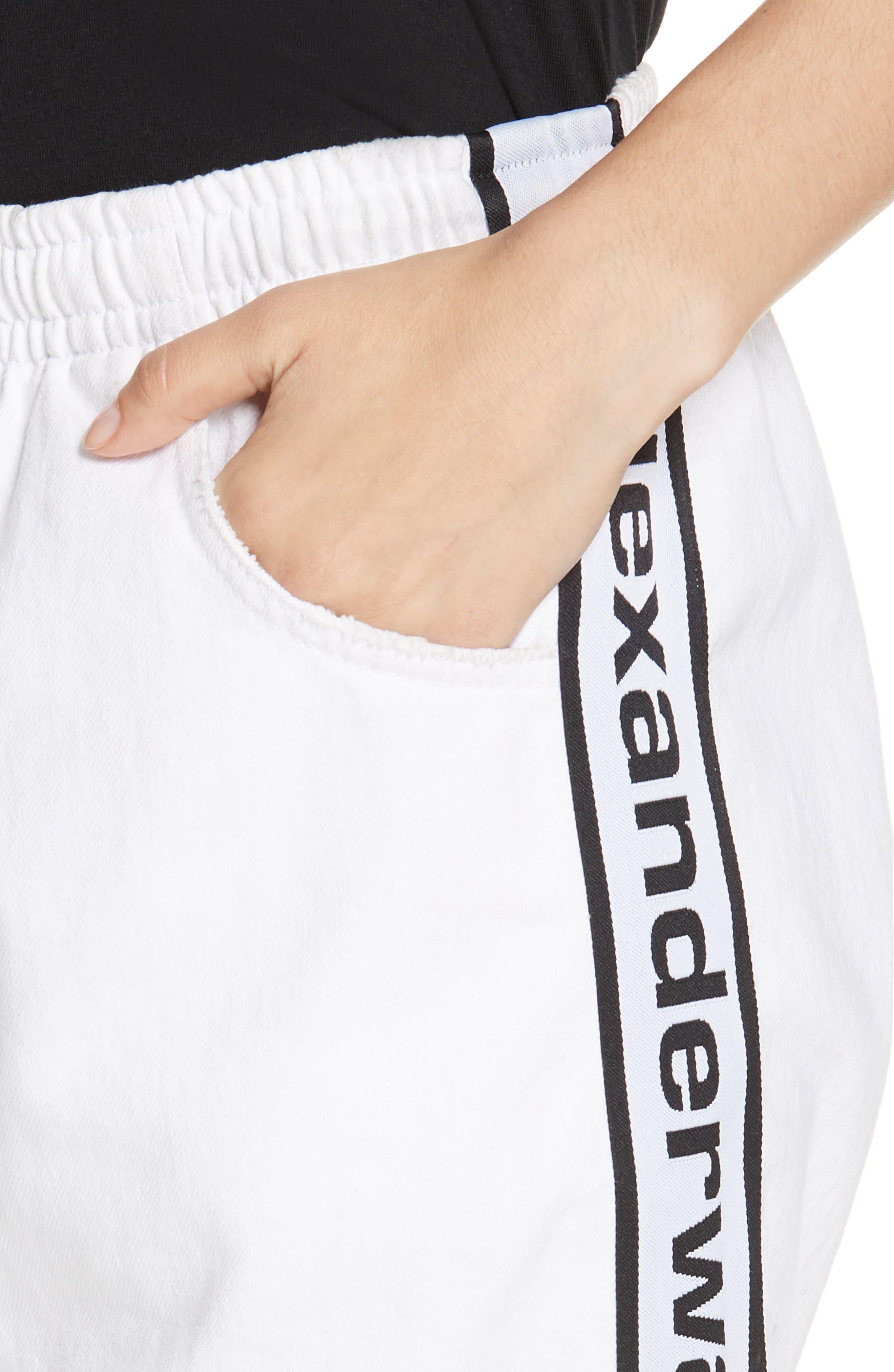 ALEXANDERWANG.T, Logo Stripe Track Pants, Alternate thumbnail 5, color, OPTIC WHITE