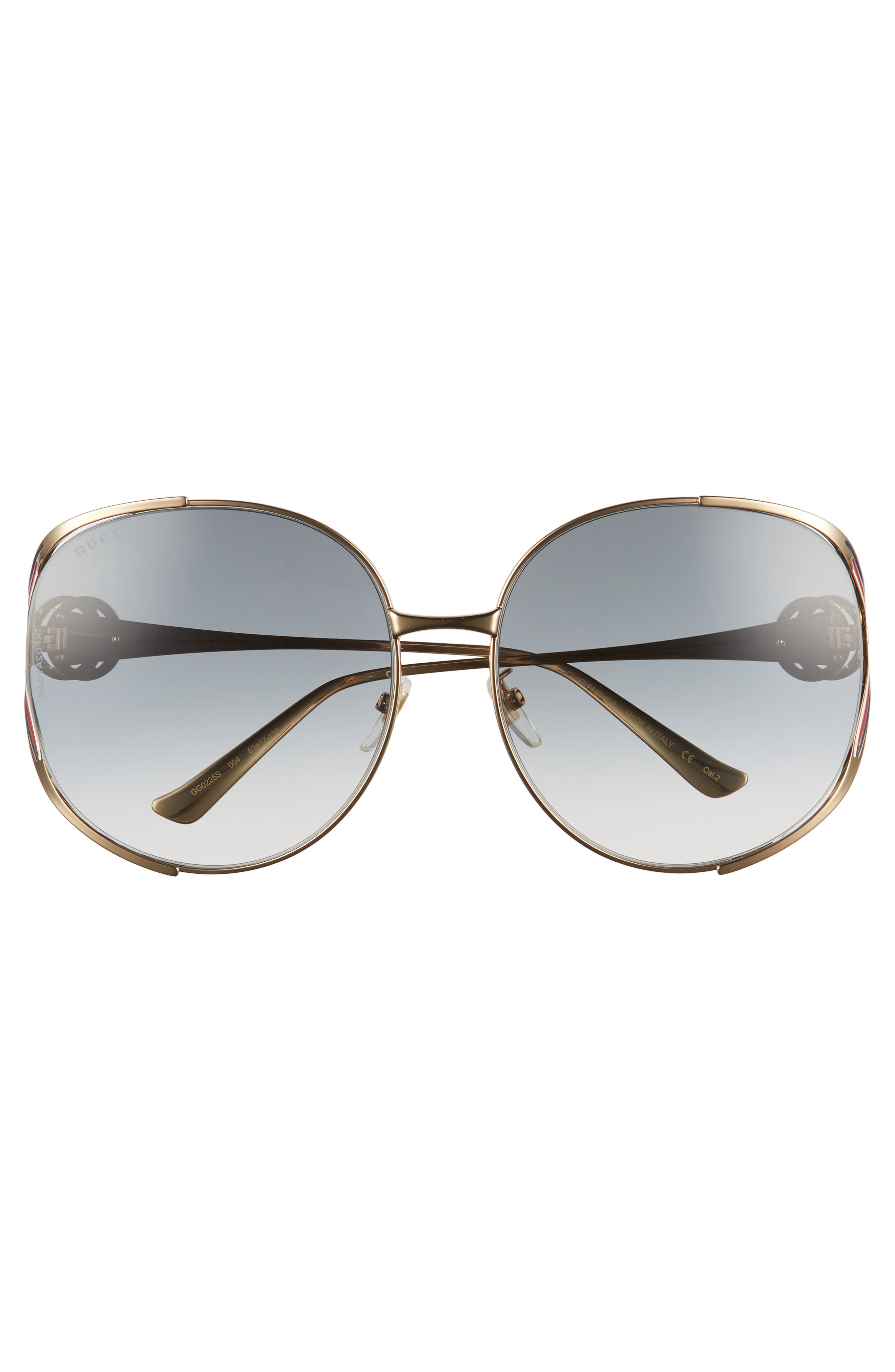 GUCCI, 63mm Open Temple Sunglasses, Alternate thumbnail 3, color, GOLD/ GREY