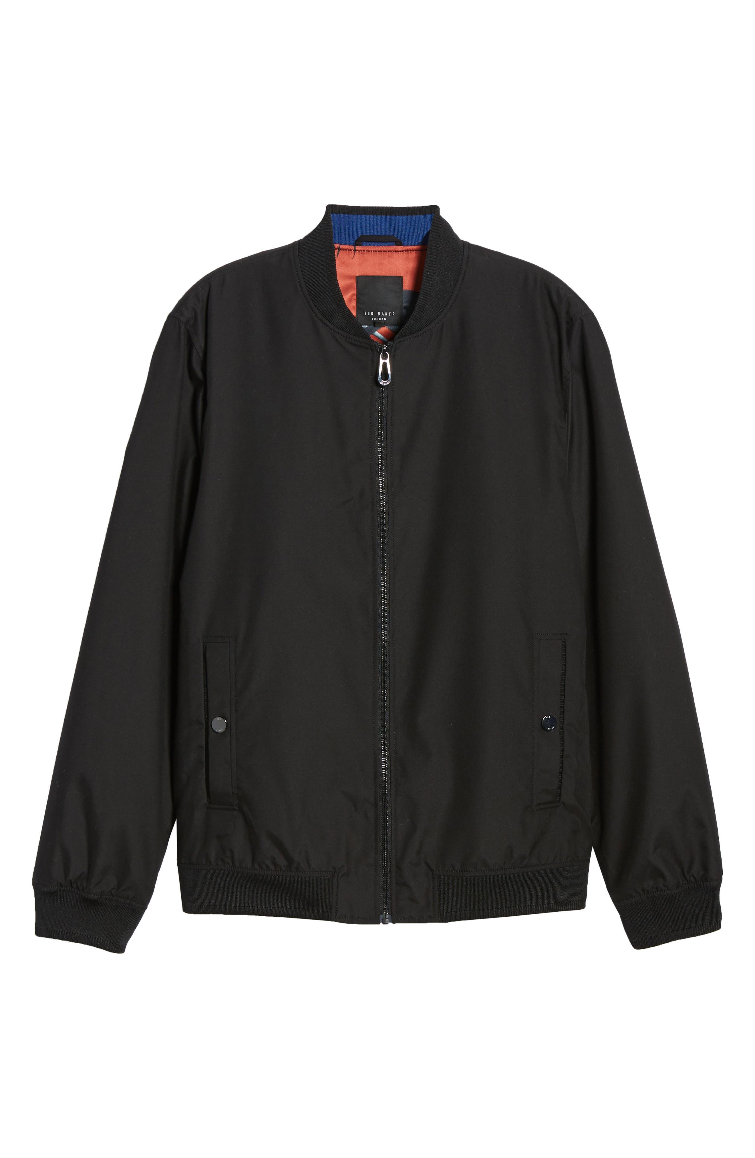 TED BAKER LONDON, Len Slim Fit Bomber Jacket, Alternate thumbnail 6, color, BLACK