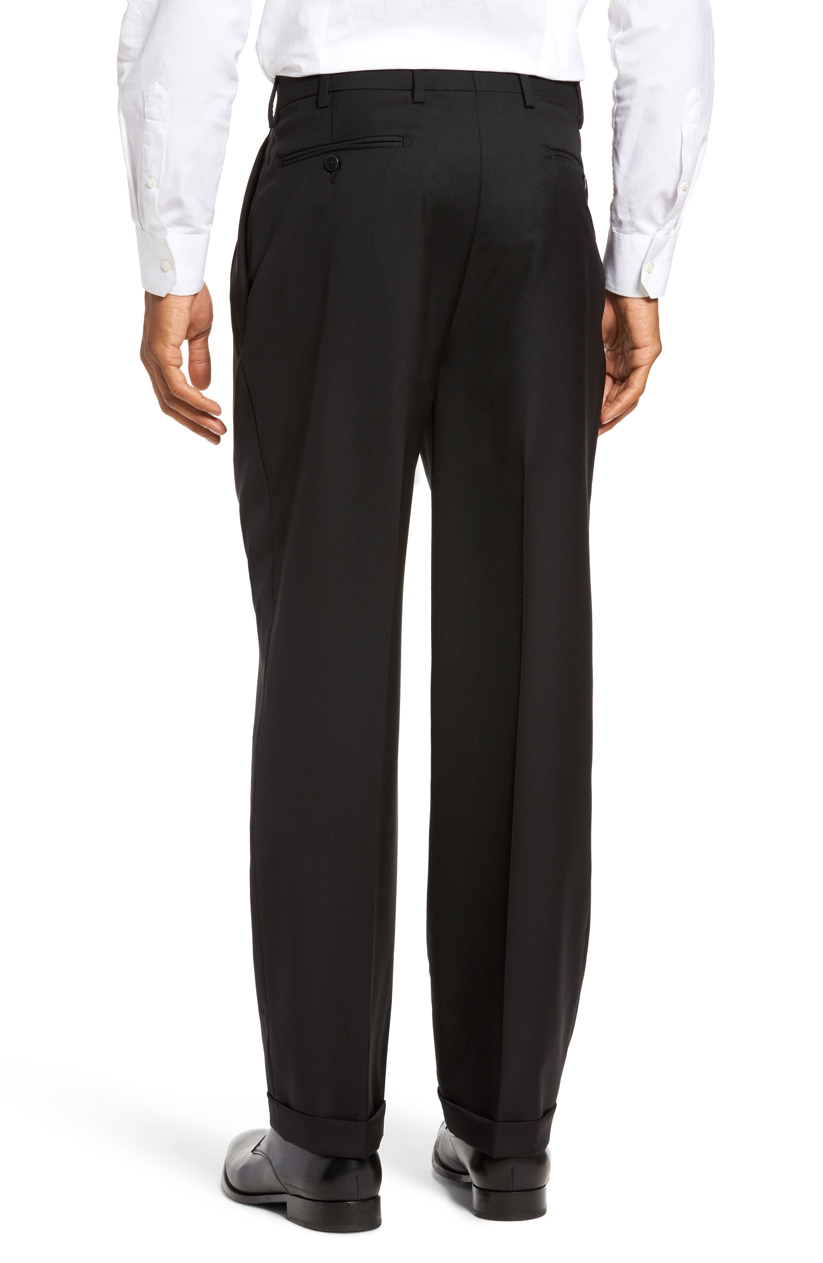 ZANELLA, Bennett Regular Fit Pleated Trousers, Alternate thumbnail 3, color, BLACK