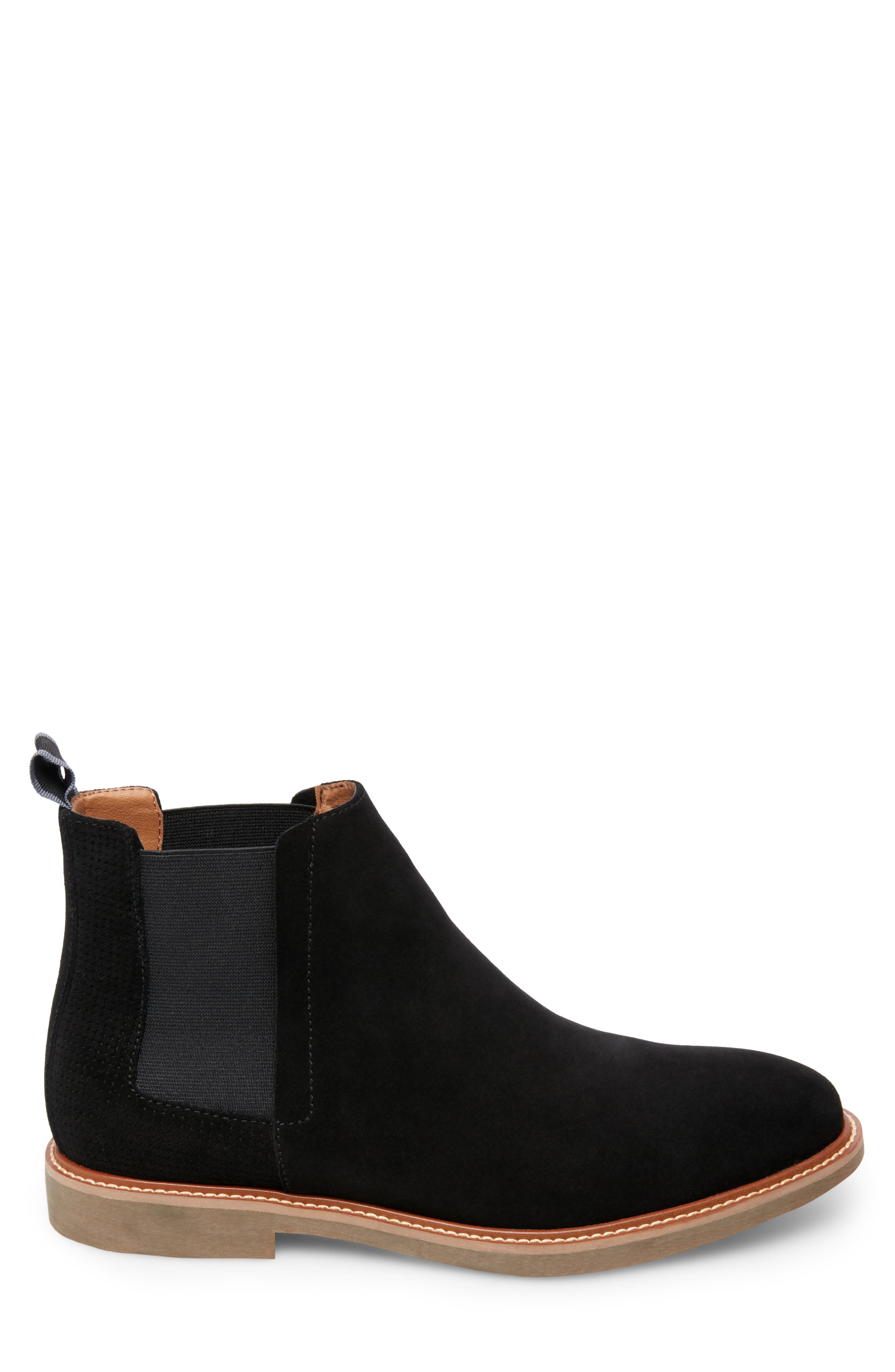 STEVE MADDEN, Highlyte Textured Chelsea Boot, Alternate thumbnail 3, color, BLACK SUEDE