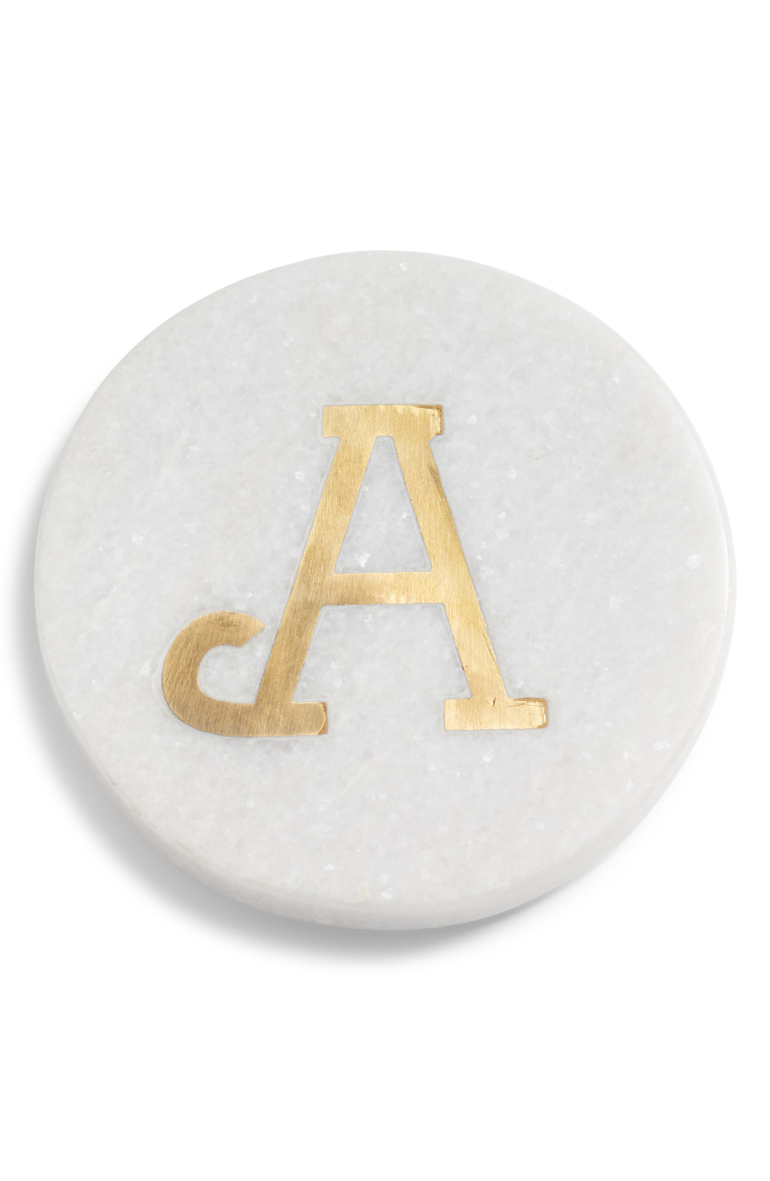 NORDSTROM AT HOME, Marble Monogram Coaster, Main thumbnail 1, color, WHITE/ GOLD A