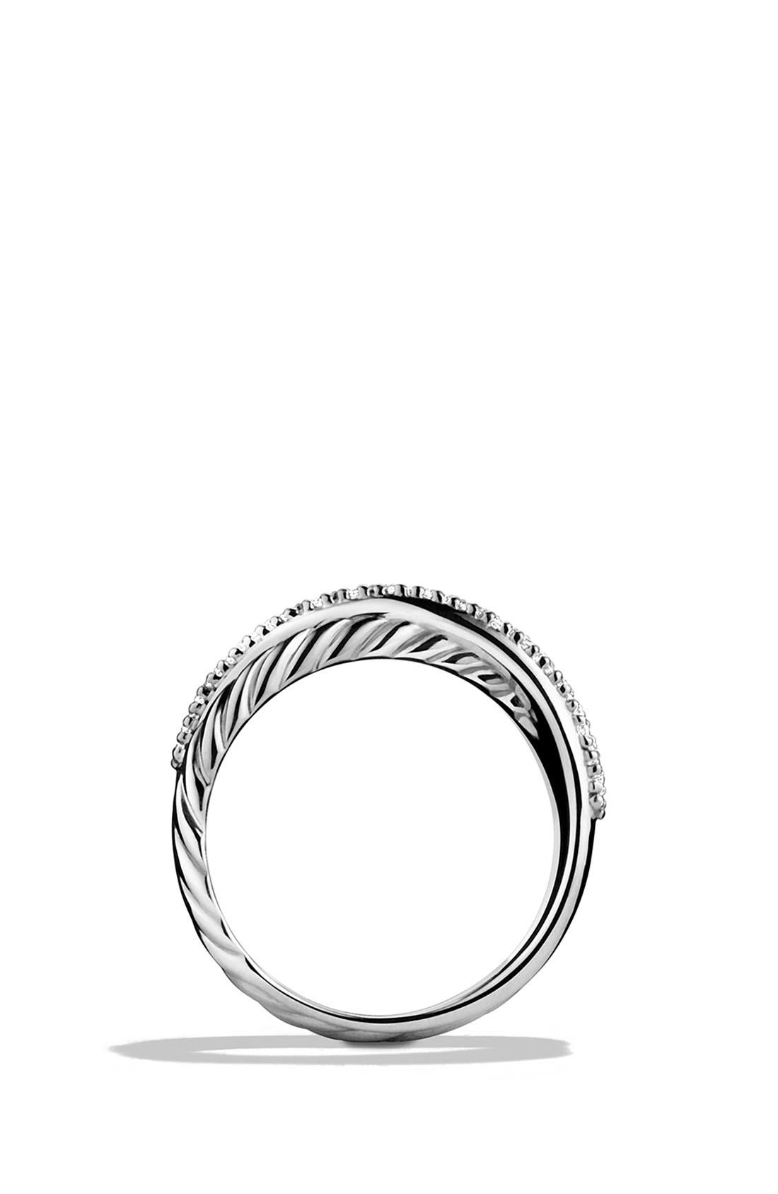 DAVID YURMAN, 'Crossover' Ring with Diamonds, Alternate thumbnail 5, color, SILVER
