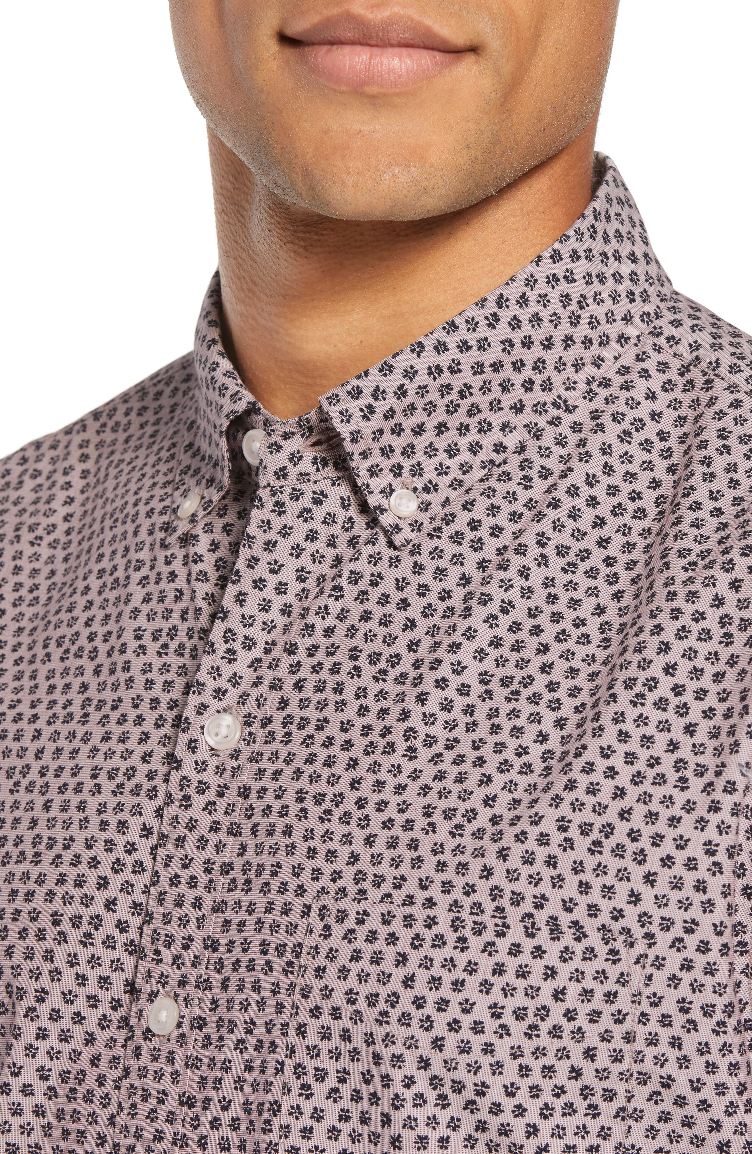 BONOBOS, Washed Button Down Slim Fit Print Sport Shirt, Alternate thumbnail 4, color, HIGHLAND FLORAL - BEAR BERRY