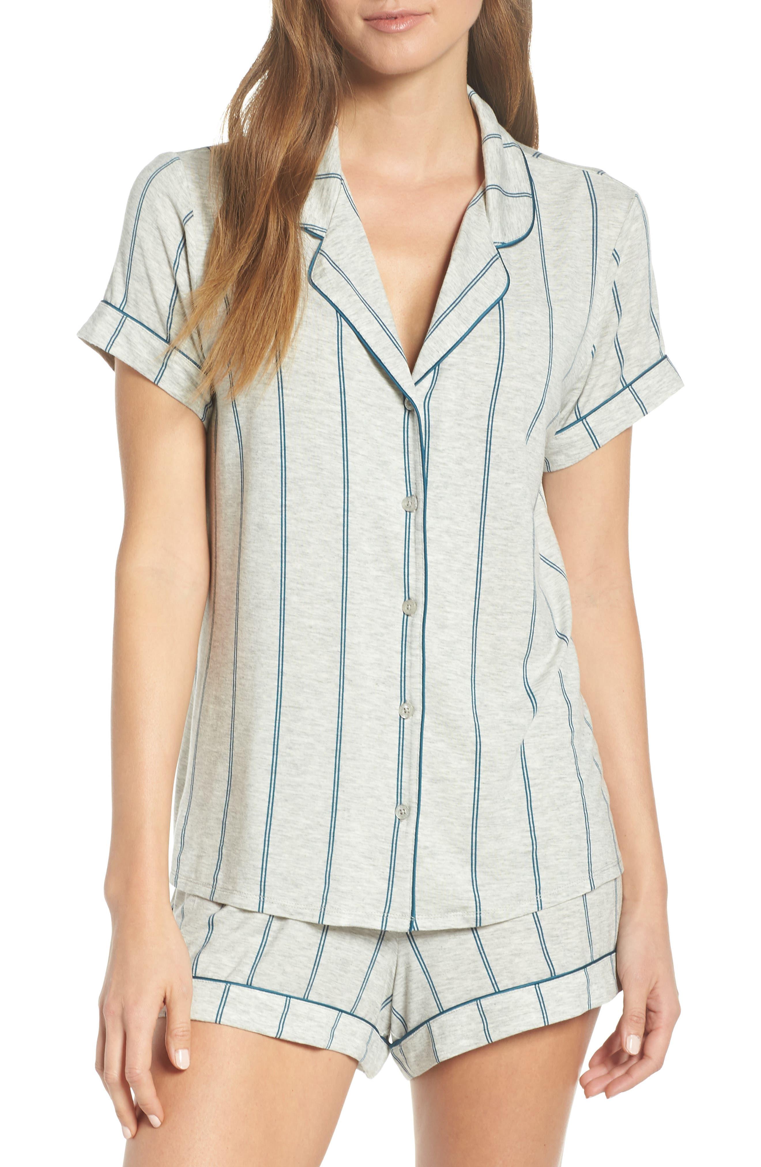 NORDSTROM LINGERIE Moonlight Short Pajamas, Main, color, GREY PEARL HTR MICRO STRIPE