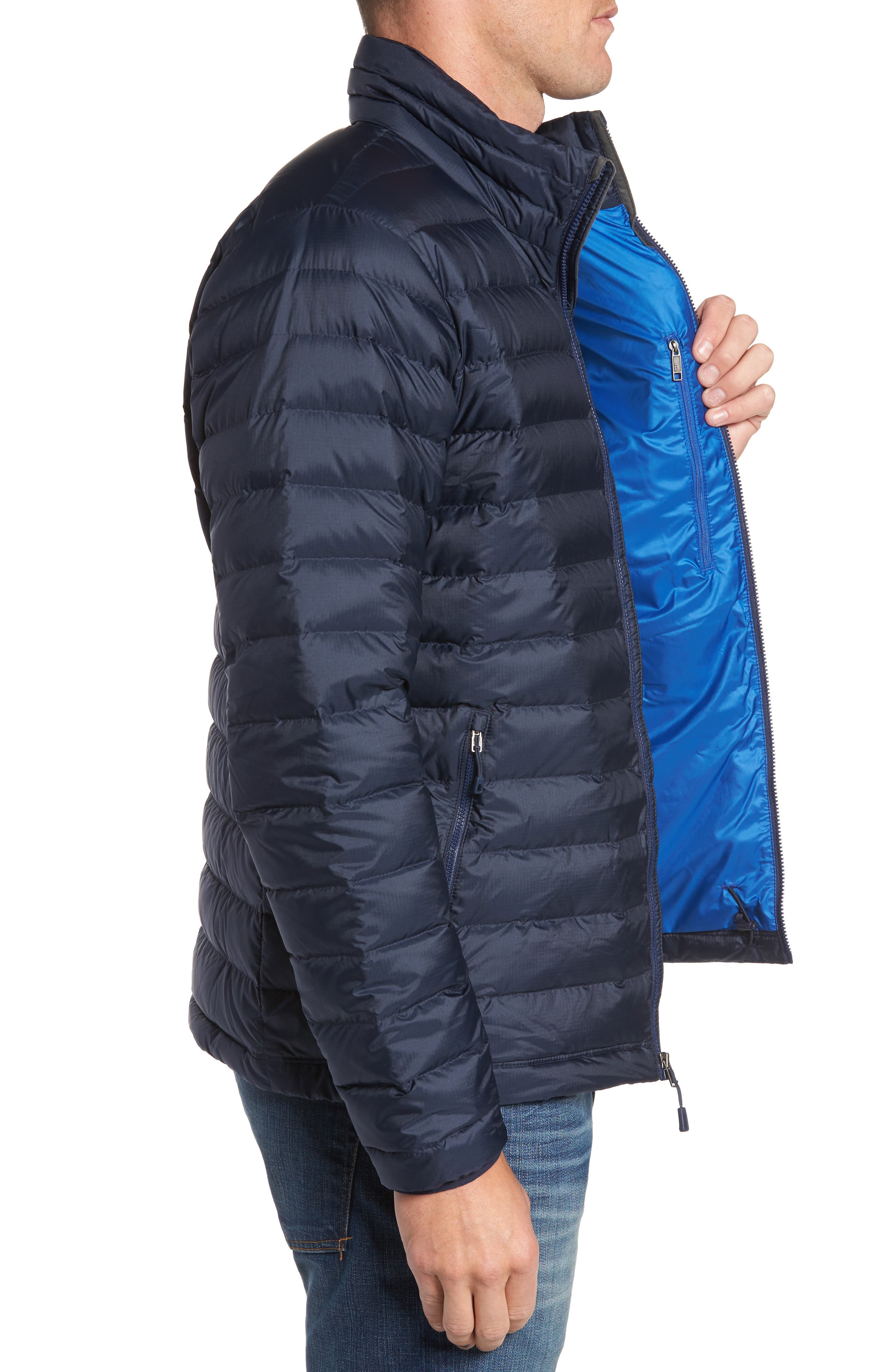 PATAGONIA, Water Repellent Down Jacket, Alternate thumbnail 4, color, NAVY BLUE W/ NAVY BLUE