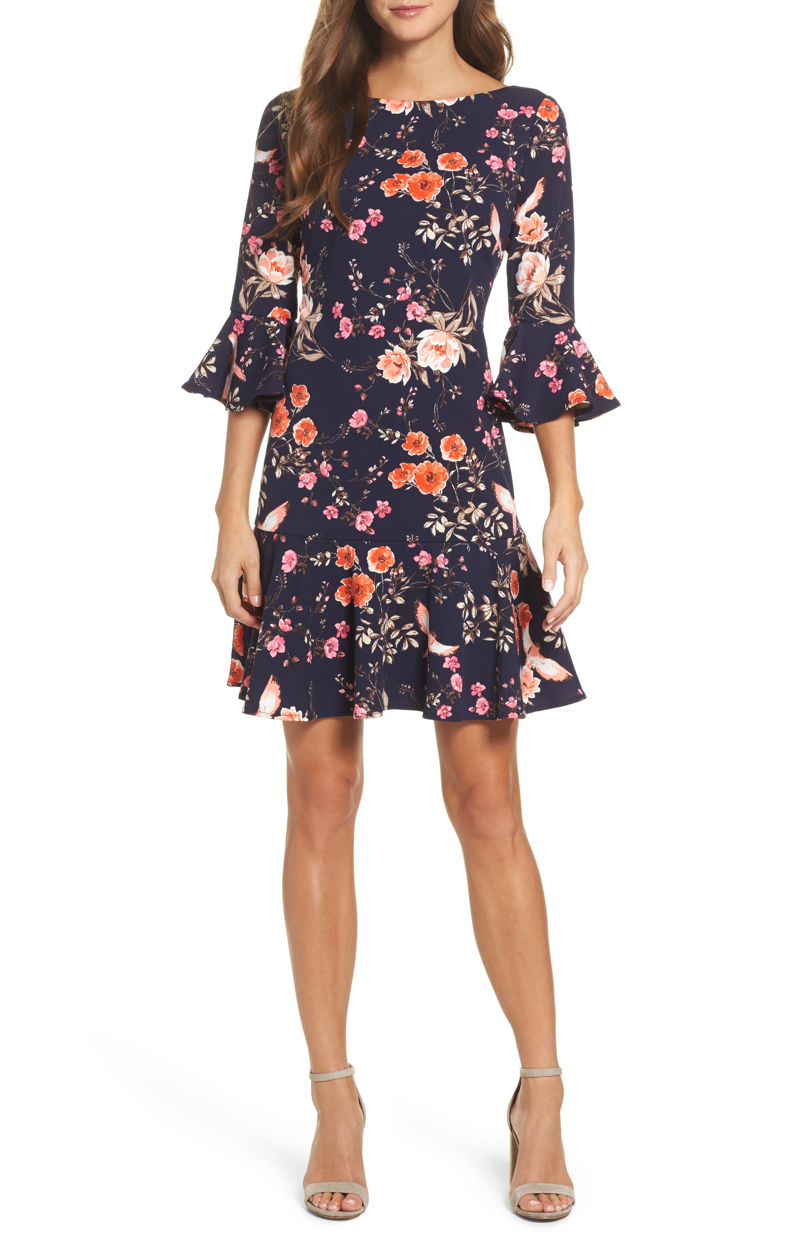 ELIZA J, Bell Sleeve Flounce Dress, Main thumbnail 1, color, NAVY