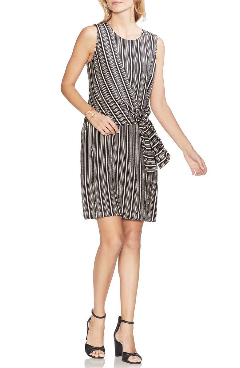 Vince Camuto Dresses DESERT STRIPE TIE FRONT ASYMMETRICAL SHIFT DRESS