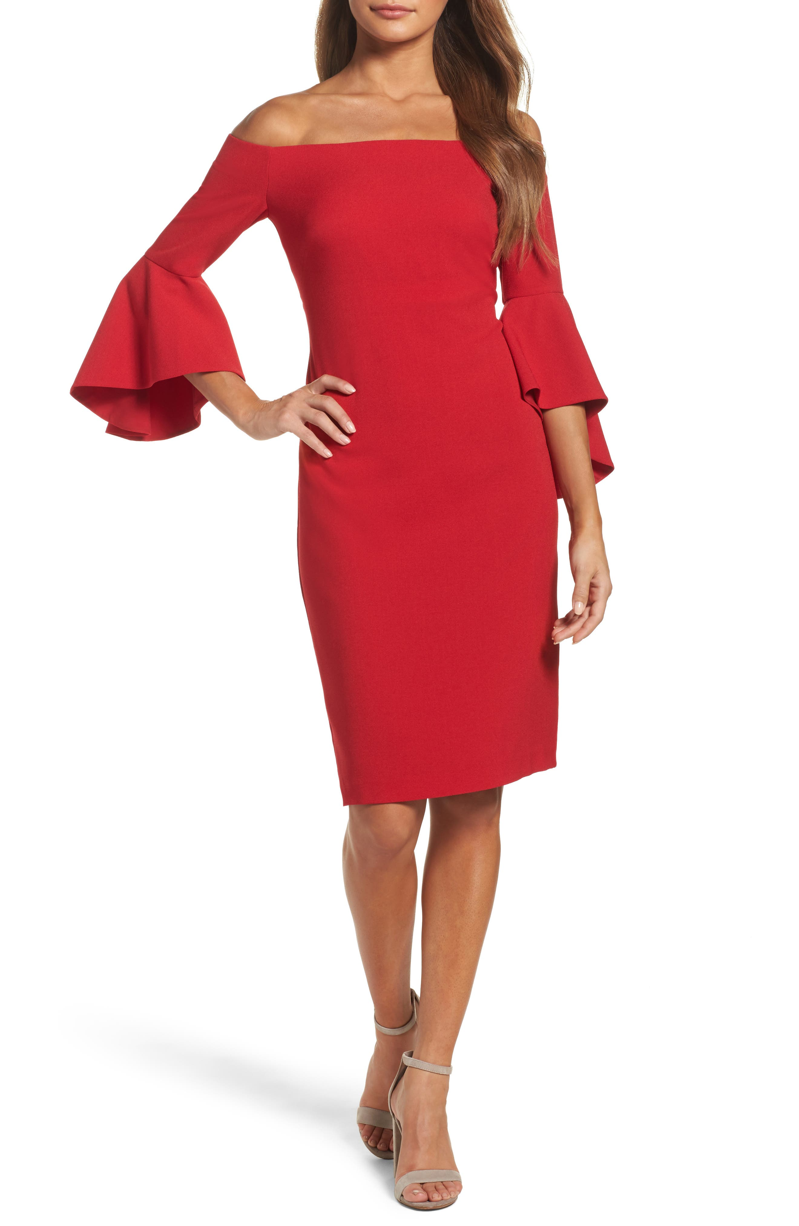 CHELSEA28, Off the Shoulder Cocktail Dress, Main thumbnail 1, color, RED JESTER