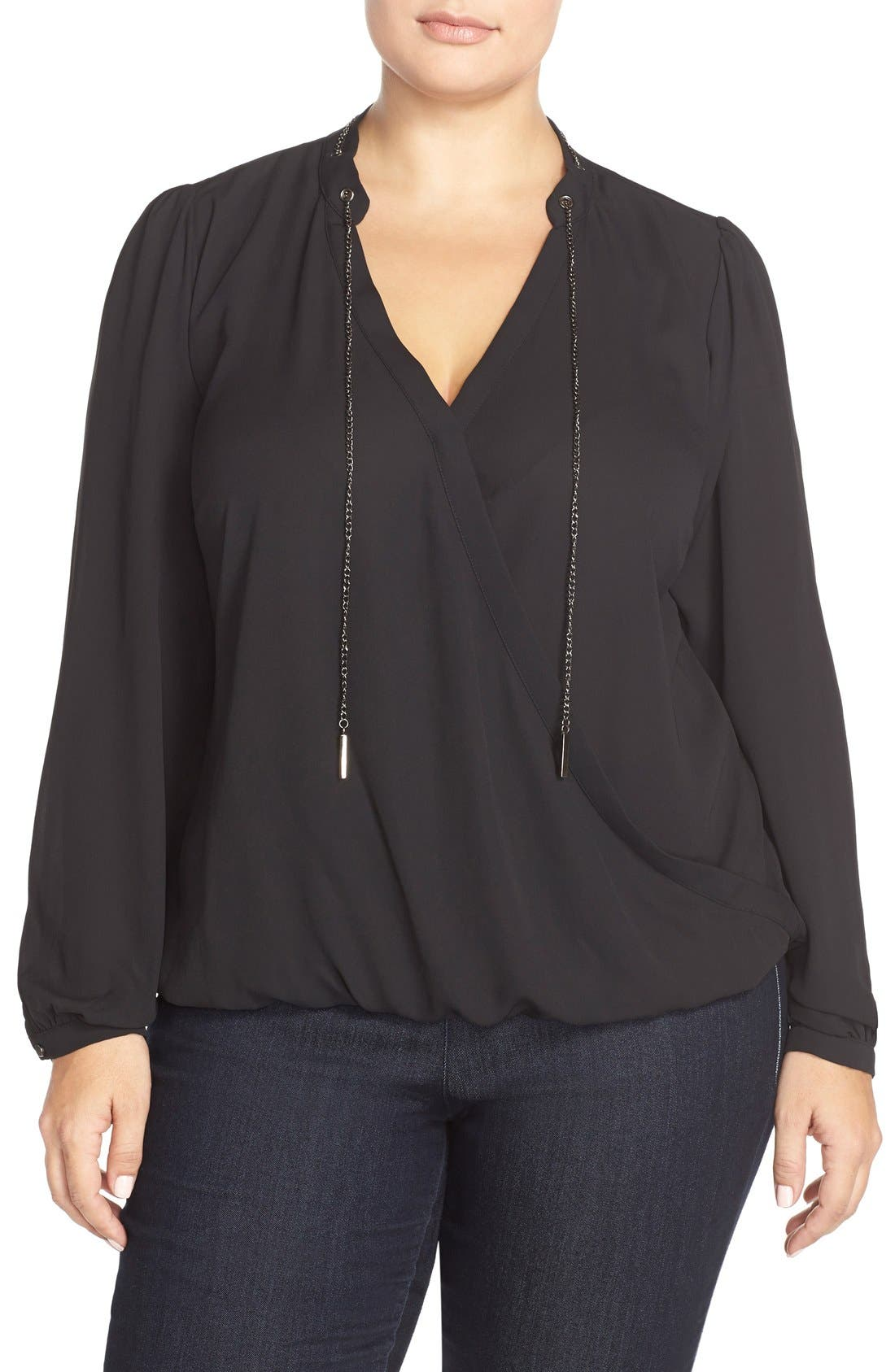 CITY CHIC Chain Neck Wrap Front Top, Main, color, 001