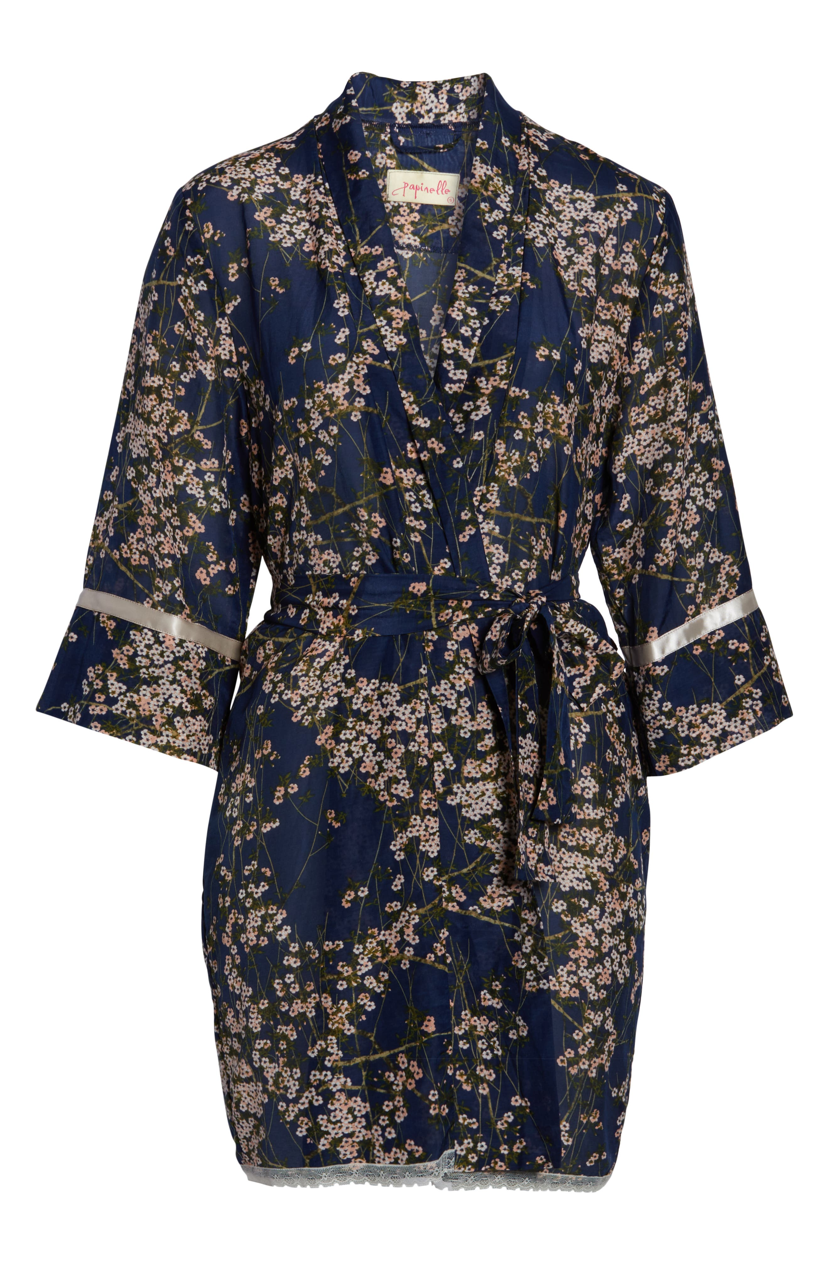 PAPINELLE, Cherry Blossom Short Robe, Alternate thumbnail 6, color, NAVY