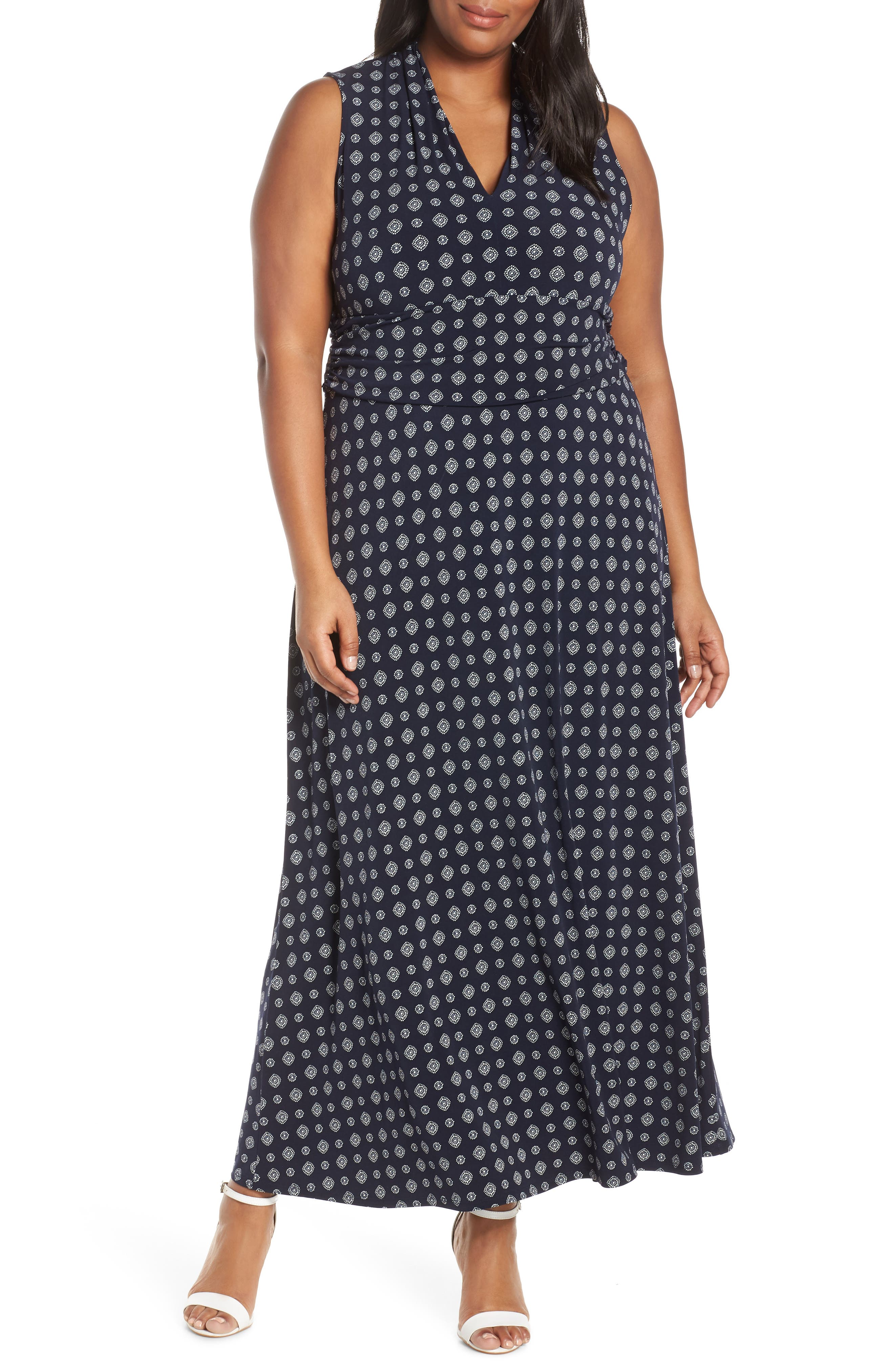 Plus Size Vince Camuto Textured Foulard Jersey Maxi Dress, Blue