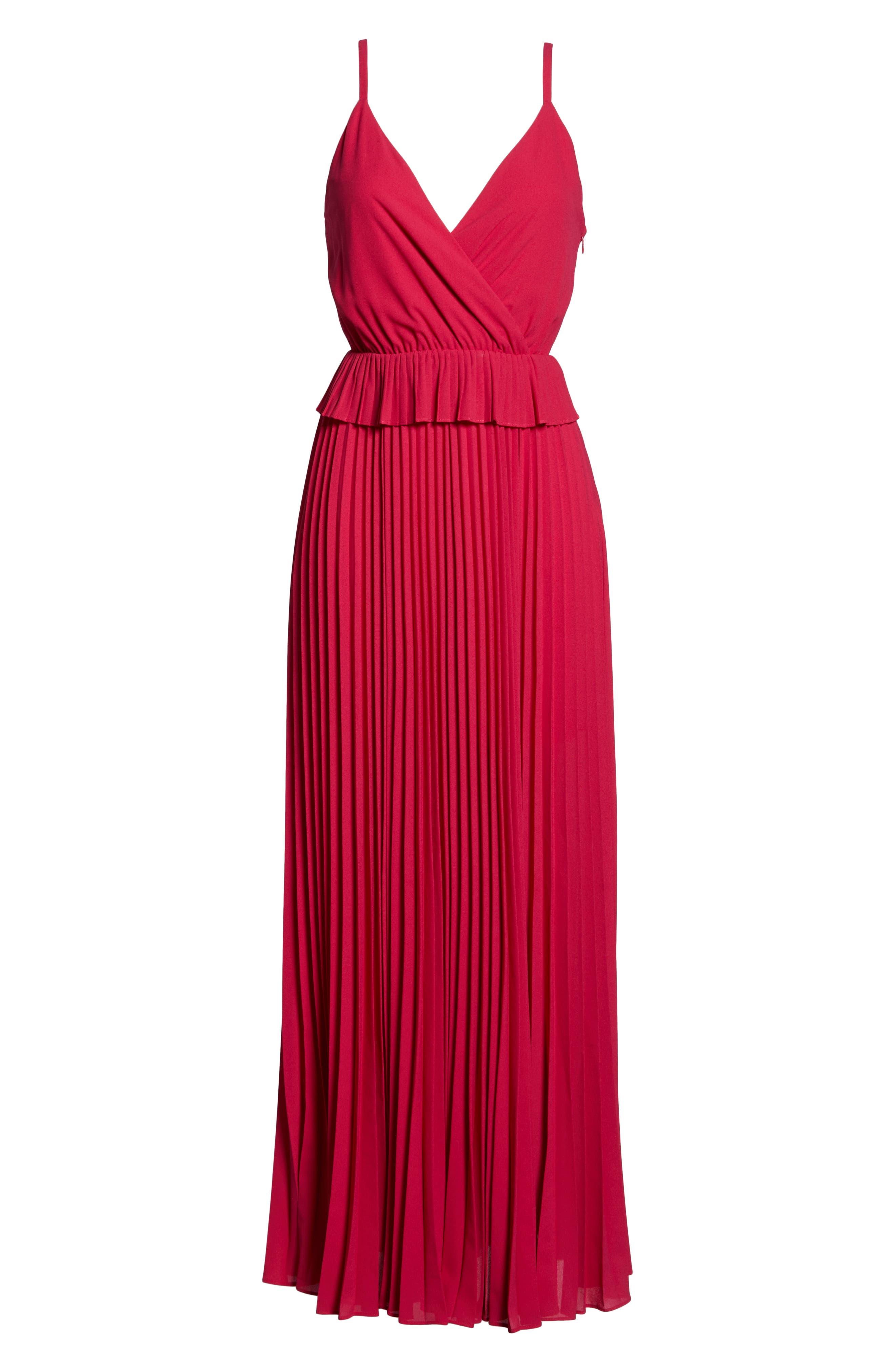 ALI & JAY, Olivet Pleated Maxi Dress, Alternate thumbnail 7, color, RASPBERRY