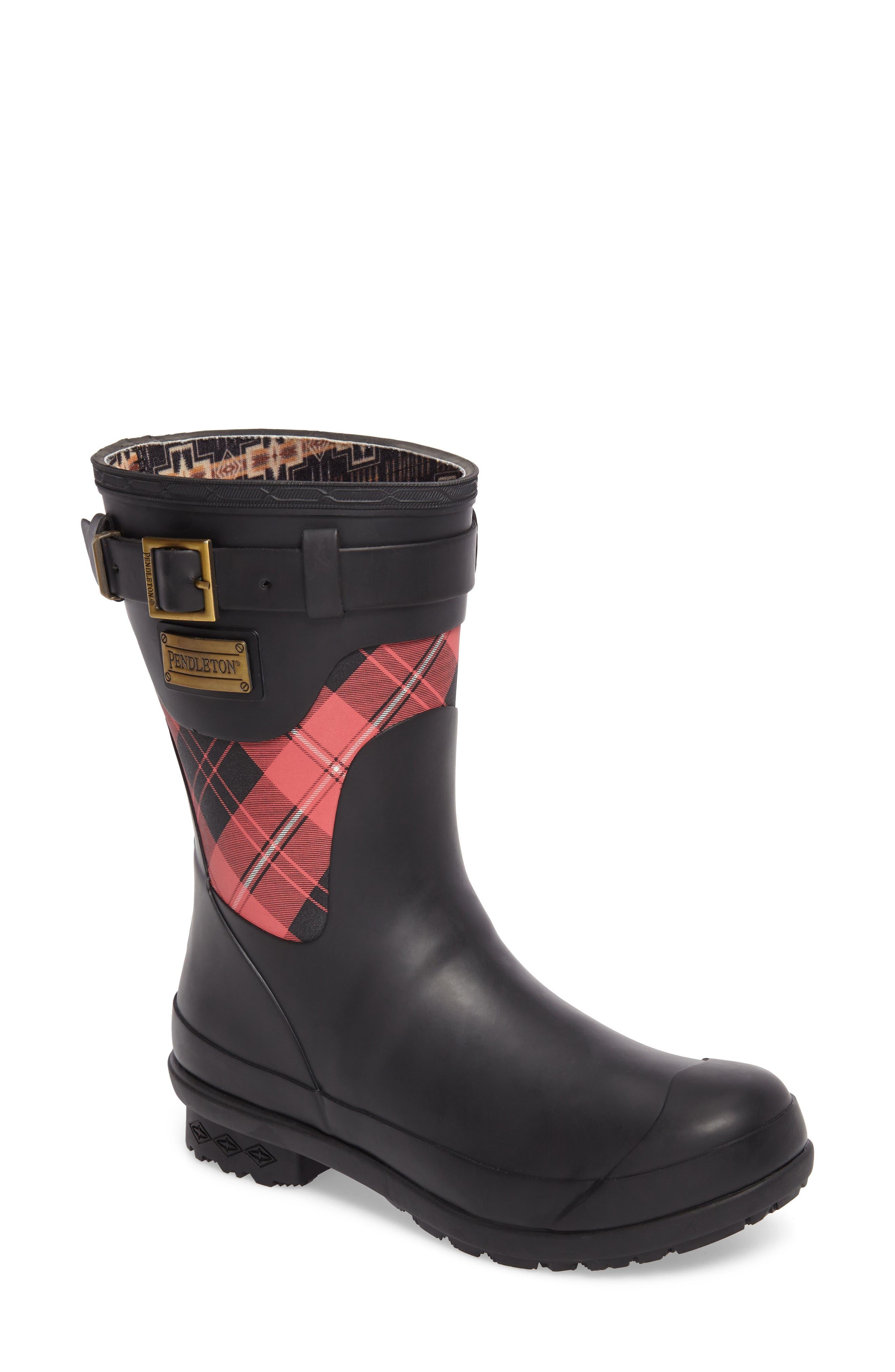 PENDLETON, Heritage Cunningham Tartan Short Boot, Main thumbnail 1, color, SCARLET