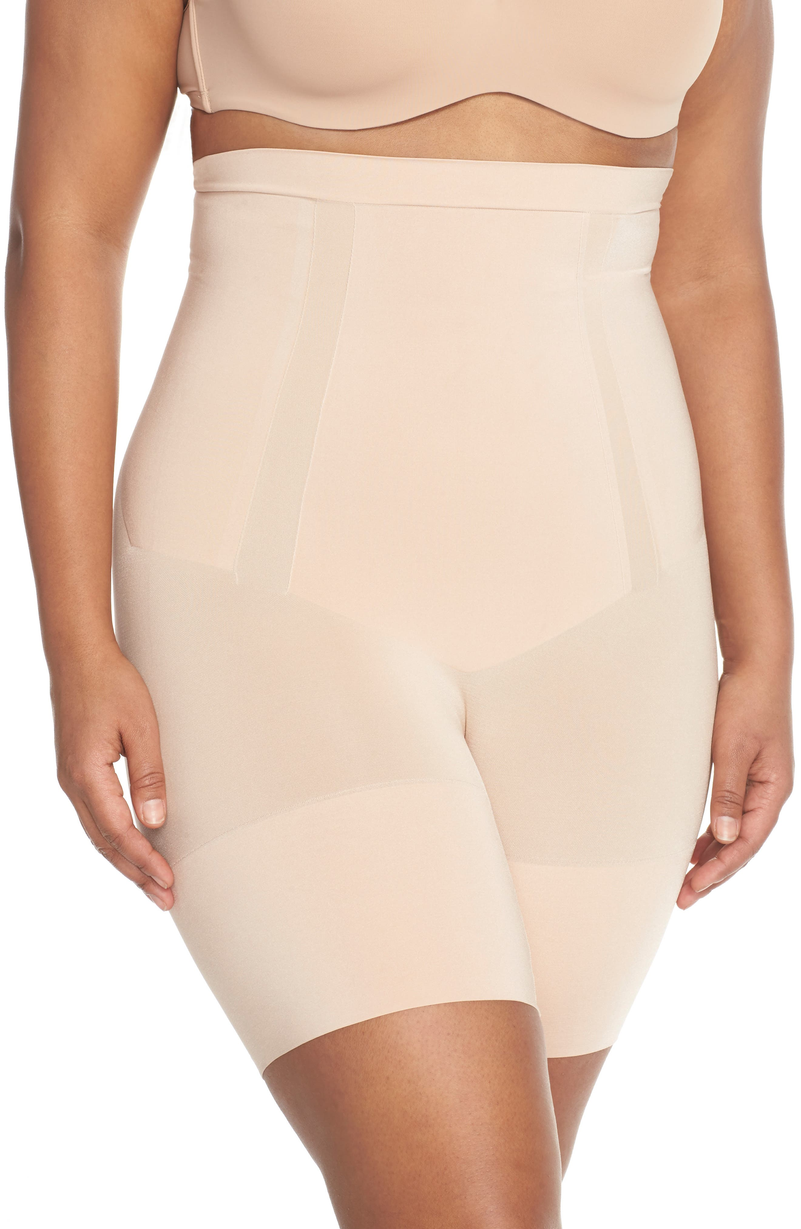 SPANX<SUP>®</SUP>, OnCore High Waist Mid-Thigh Shorts, Alternate thumbnail 2, color, SOFT NUDE