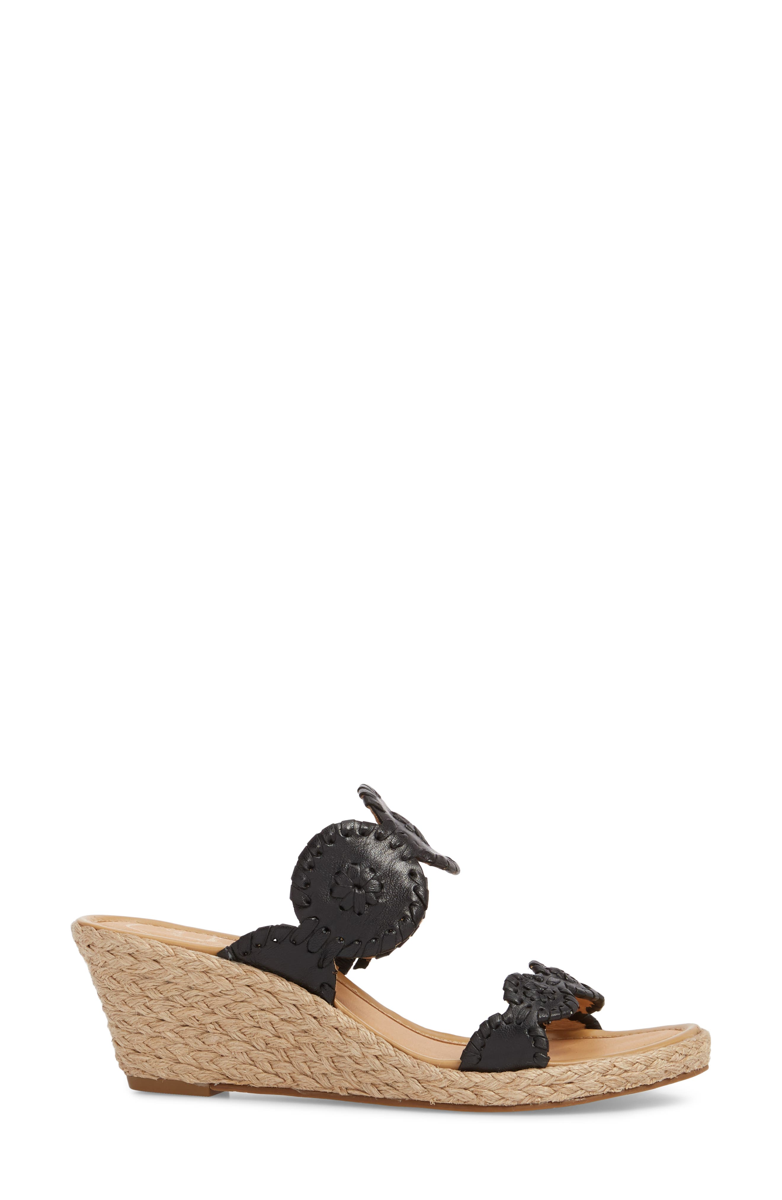 JACK ROGERS, 'Shelby' Whipstitched Wedge Sandal, Alternate thumbnail 3, color, 001