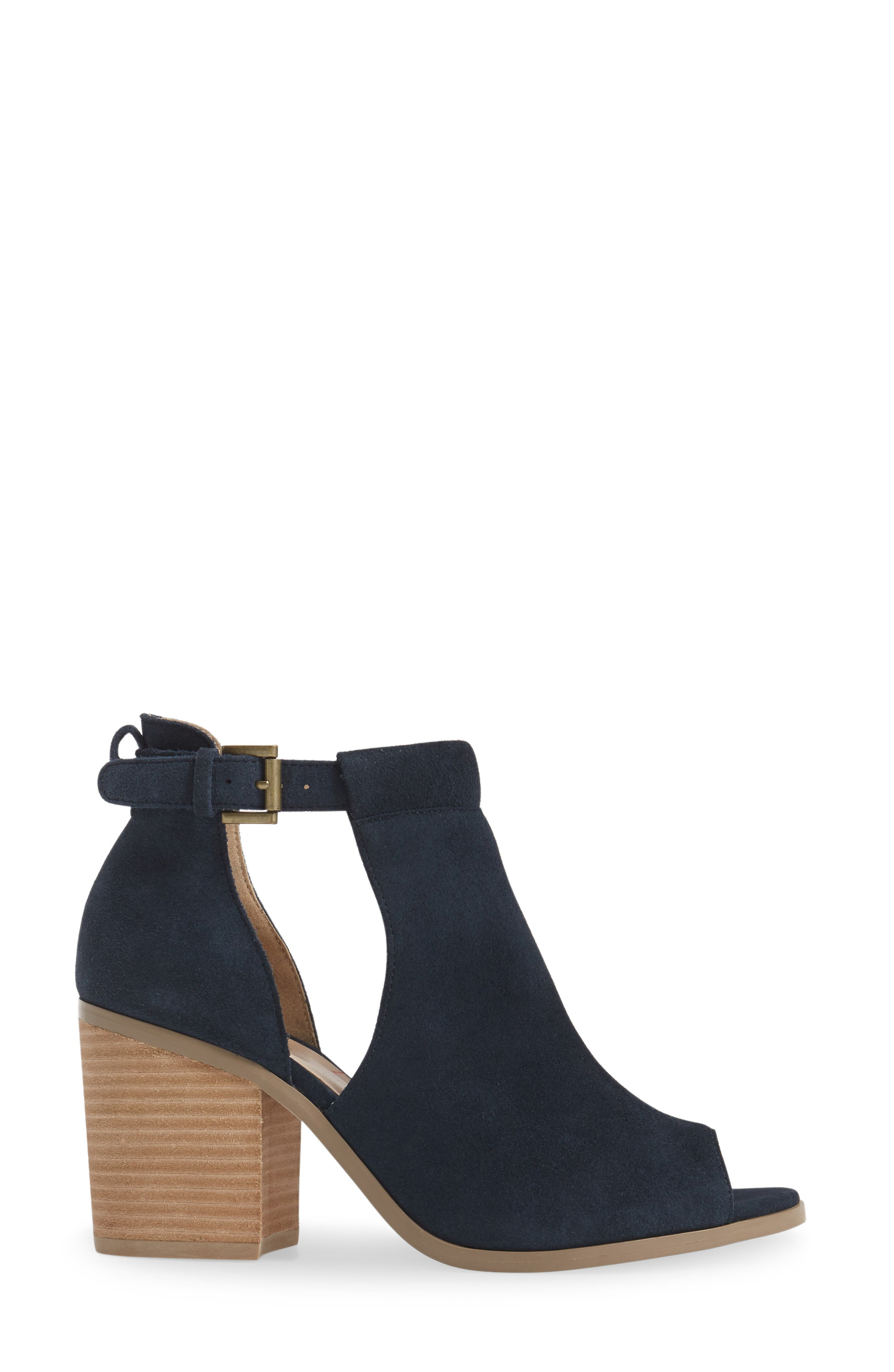 SOLE SOCIETY, 'Ferris' Open Toe Bootie, Alternate thumbnail 3, color, INK SUEDE