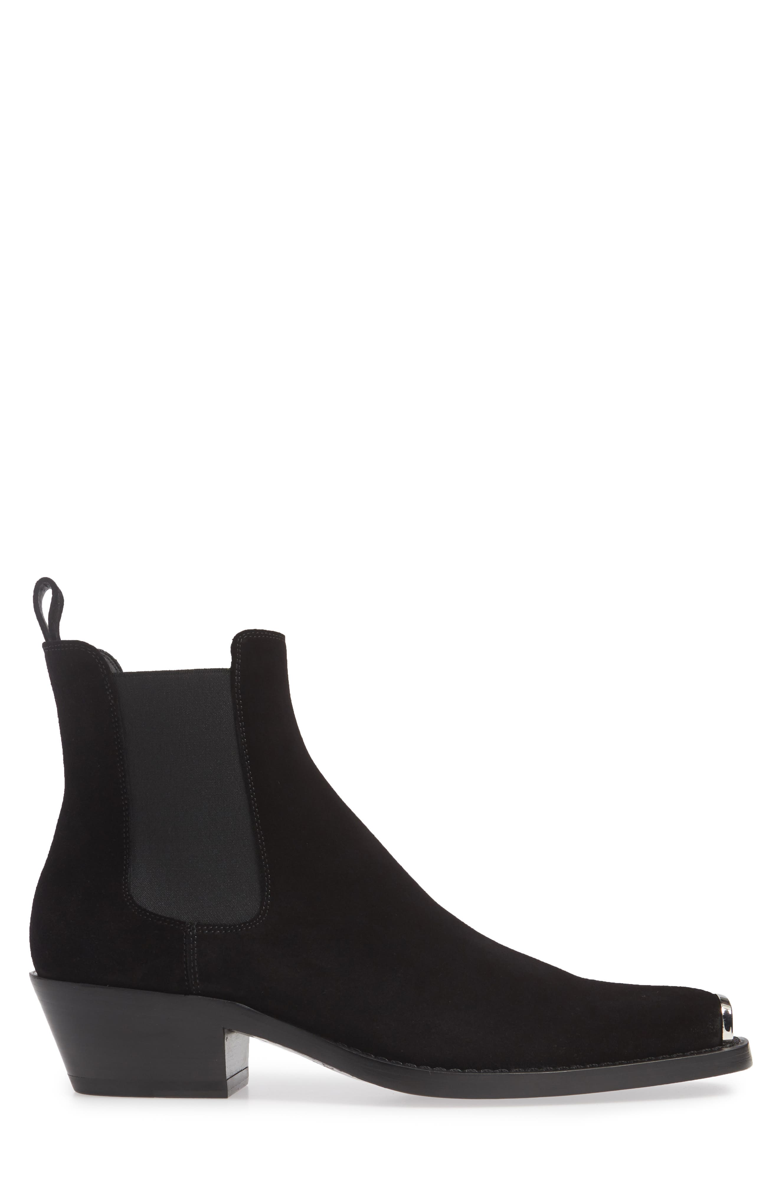 CALVIN KLEIN 205W39NYC, Chris Chelsea Boot, Alternate thumbnail 3, color, BLACK