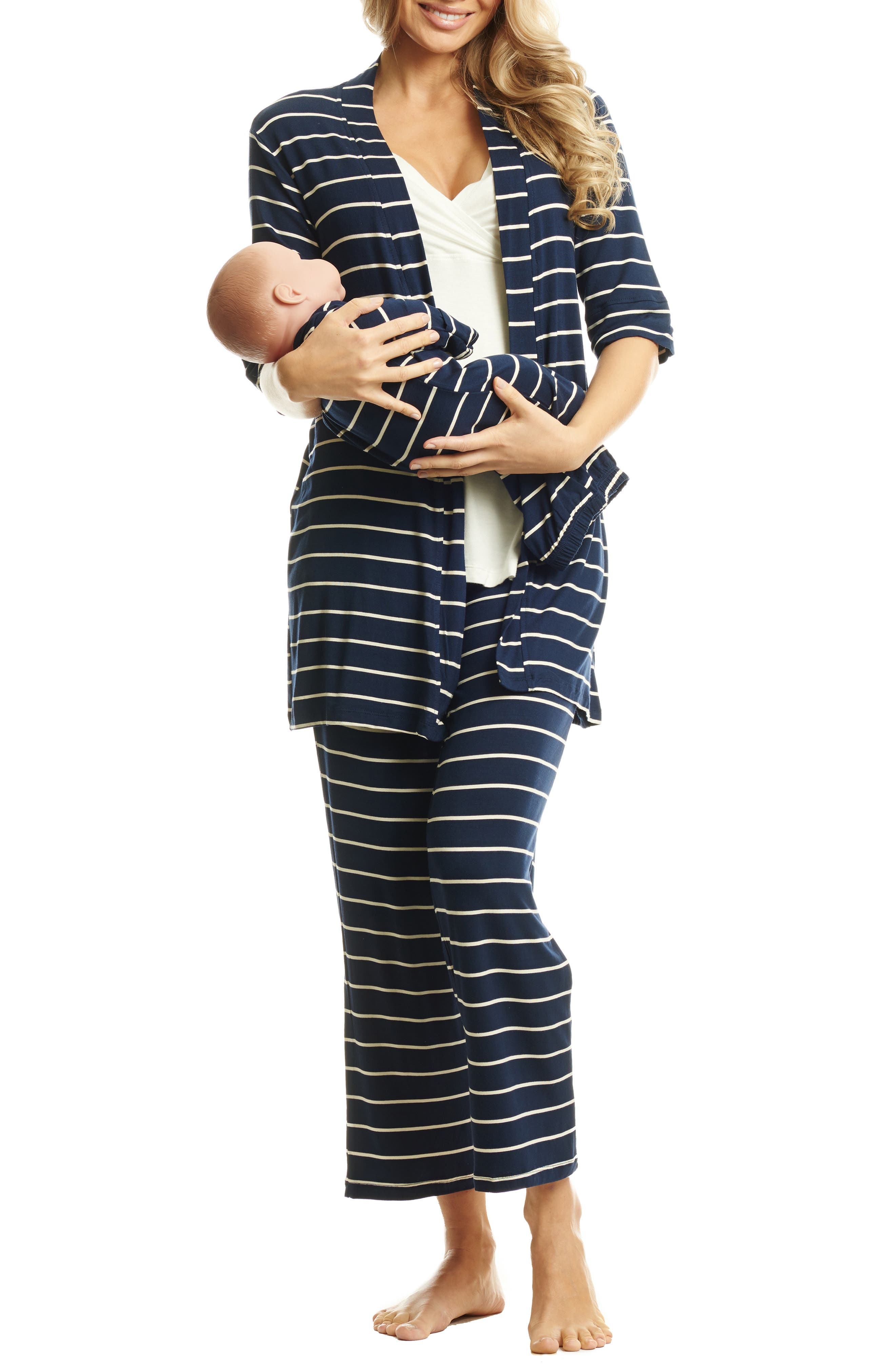 EVERLY GREY, Roxanne - During & After 5-Piece Maternity Sleepwear Set, Main thumbnail 1, color, NAVY