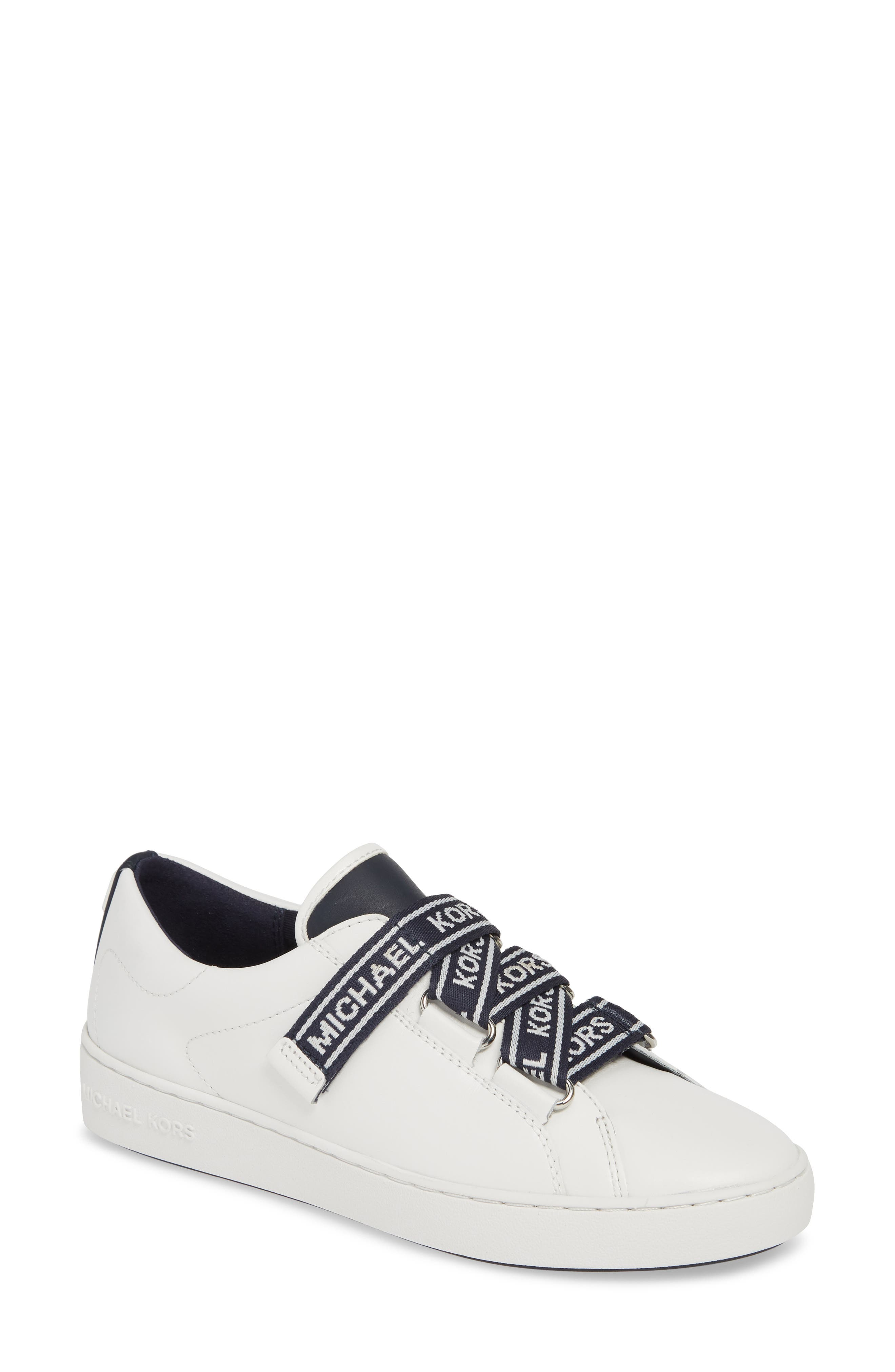MICHAEL MICHAEL KORS, Casey Low Top Sneaker, Main thumbnail 1, color, ADMIRAL/ WHITE