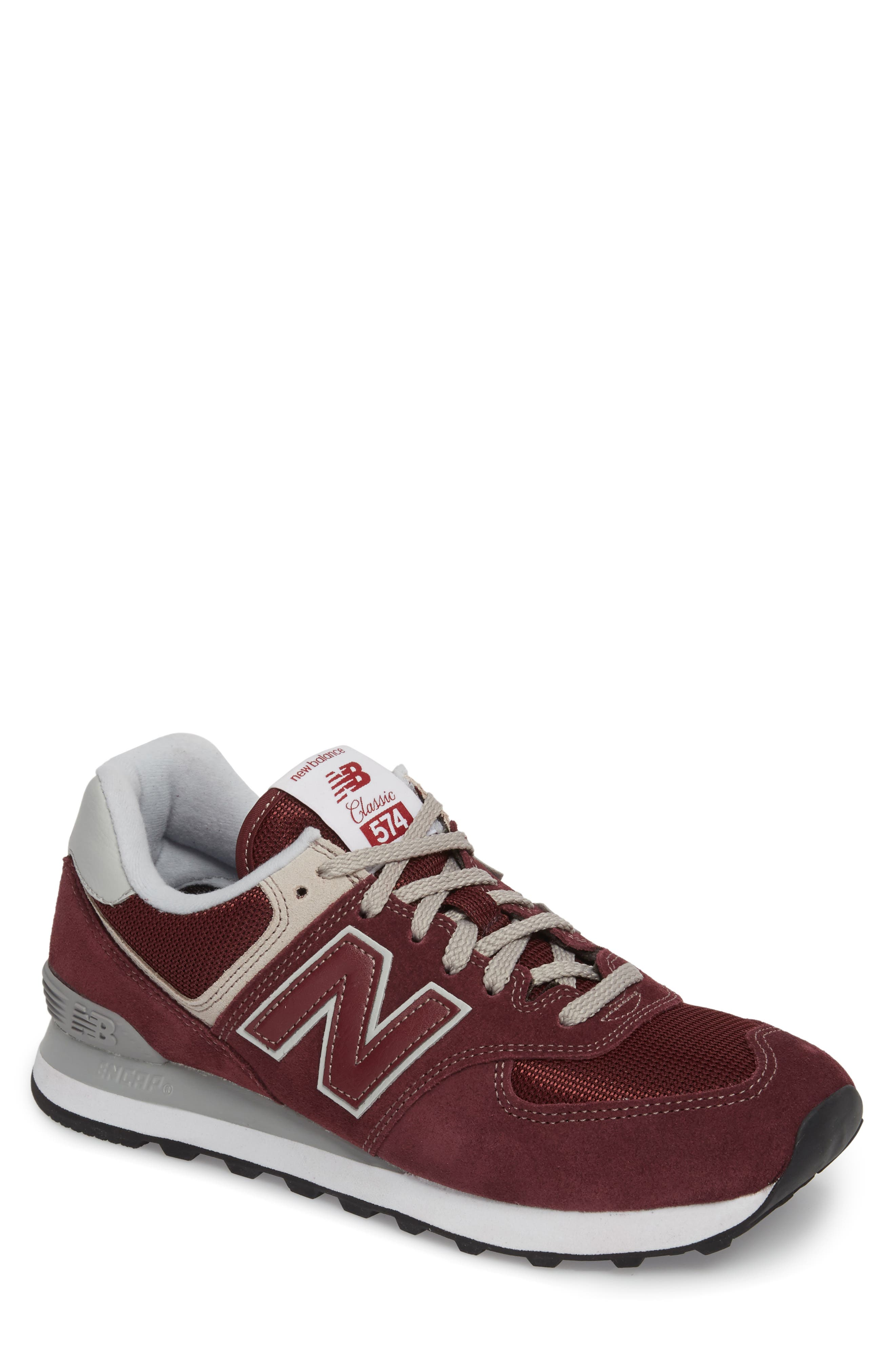 NEW BALANCE, 574 Classic Sneaker, Main thumbnail 1, color, BURGUNDY