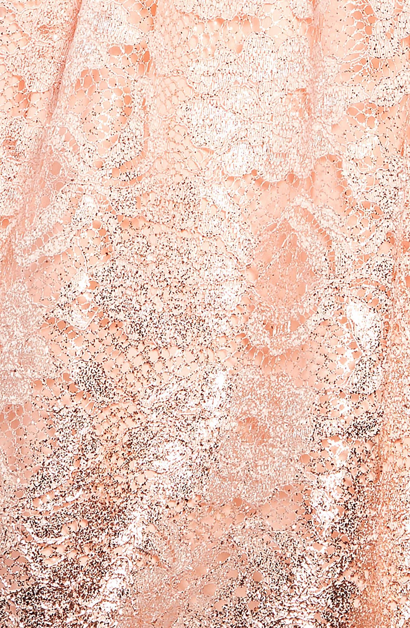 BLUSH BY US ANGELS, Foiled Lace Dress, Alternate thumbnail 3, color, BLUSH