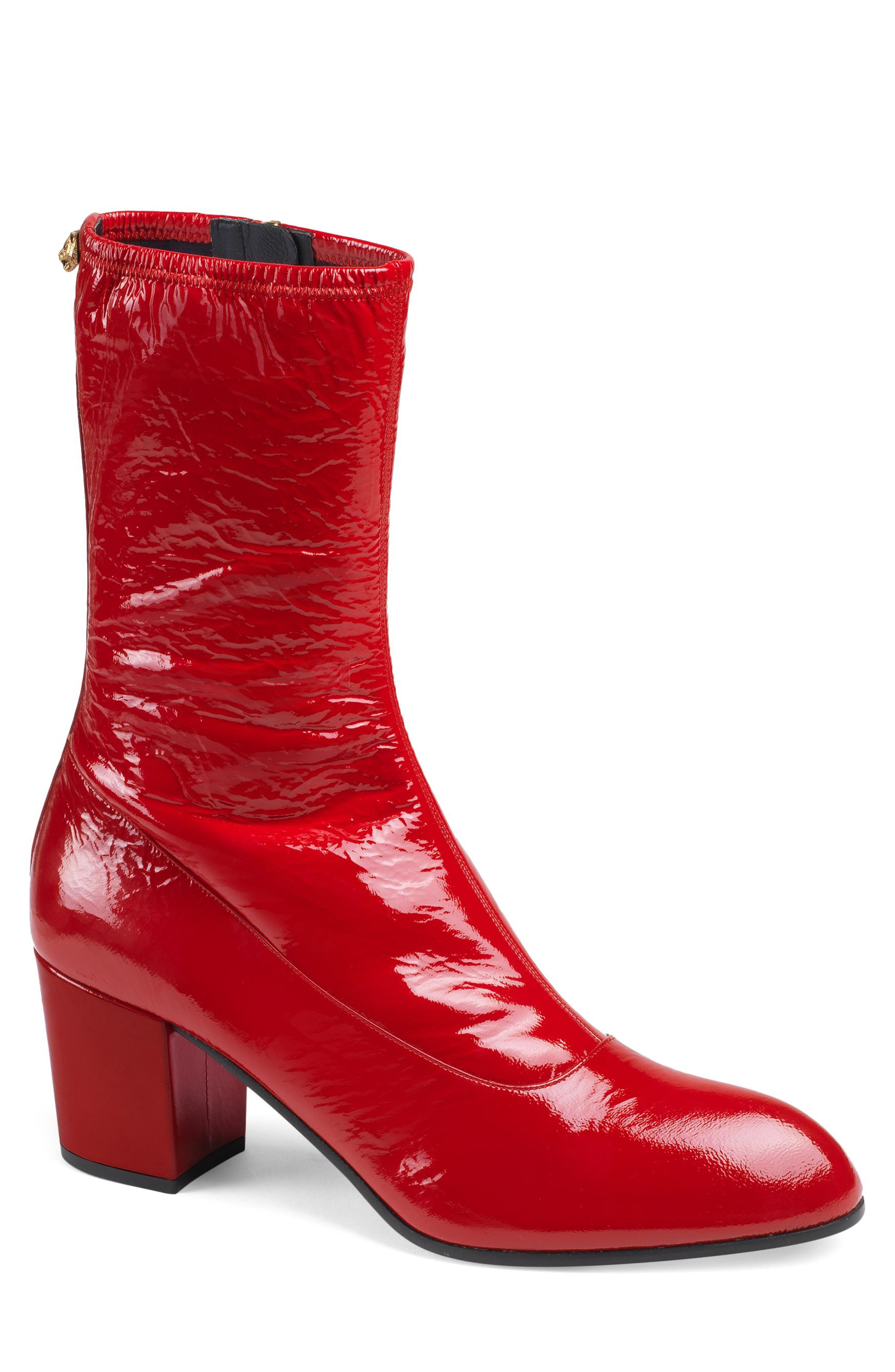 Gucci Printyl Patent Leather Zip Boot, Red