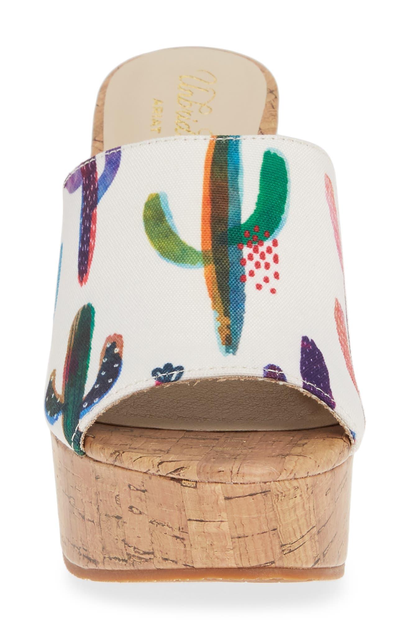 ARIAT, Layla Wedge Slide Sandal, Alternate thumbnail 4, color, CACTUS PRINT FABRIC