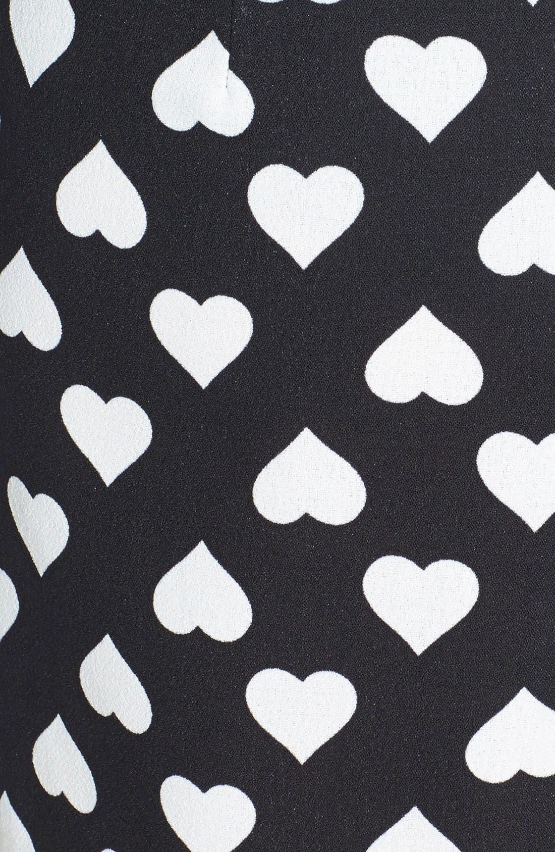 POPPY LUX, 'Nancy' Heart Print Asymmetrical Dress, Alternate thumbnail 3, color, 001