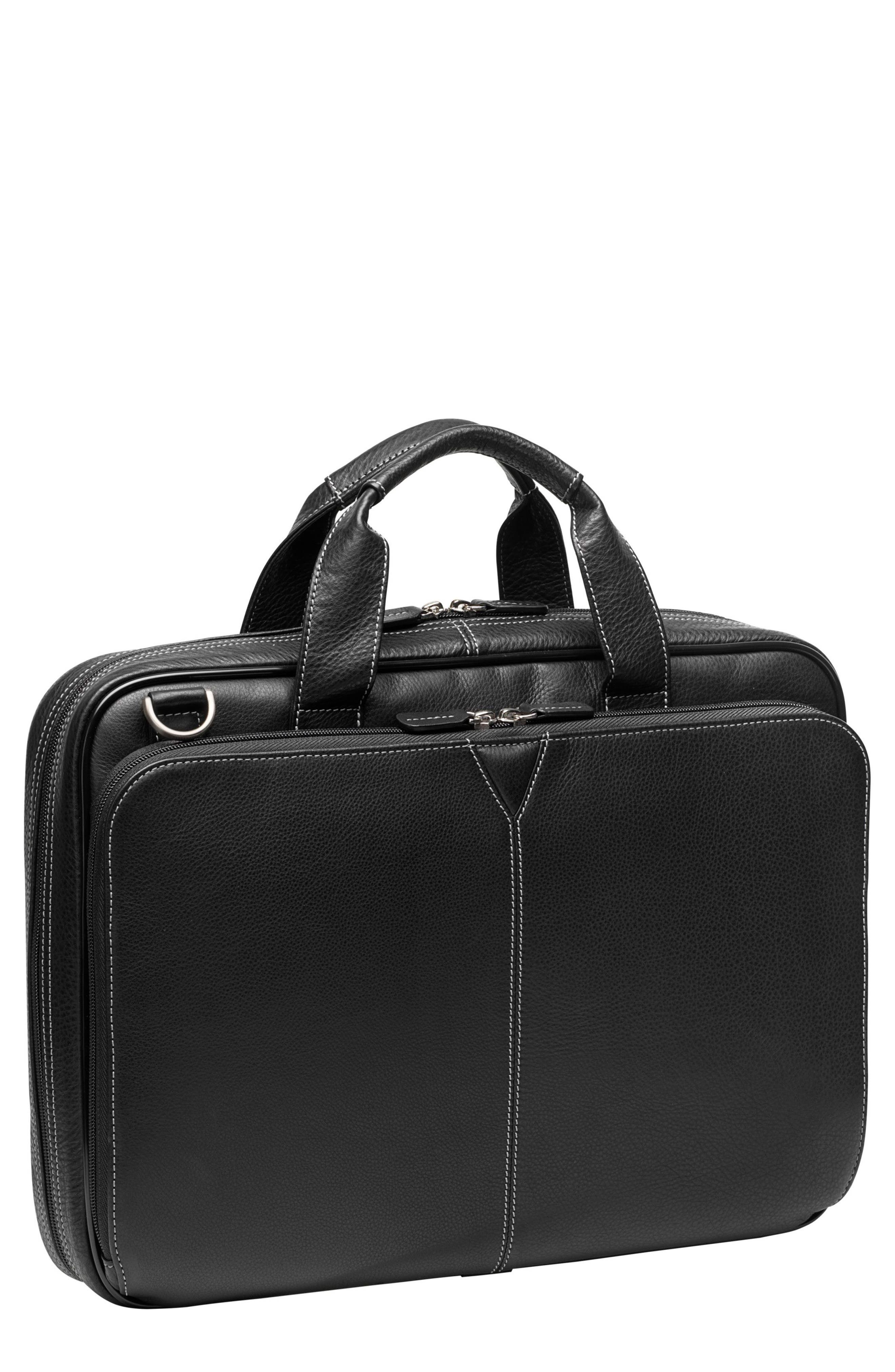 JOHNSTON & MURPHY Leather Briefcase, Main, color, BLACK