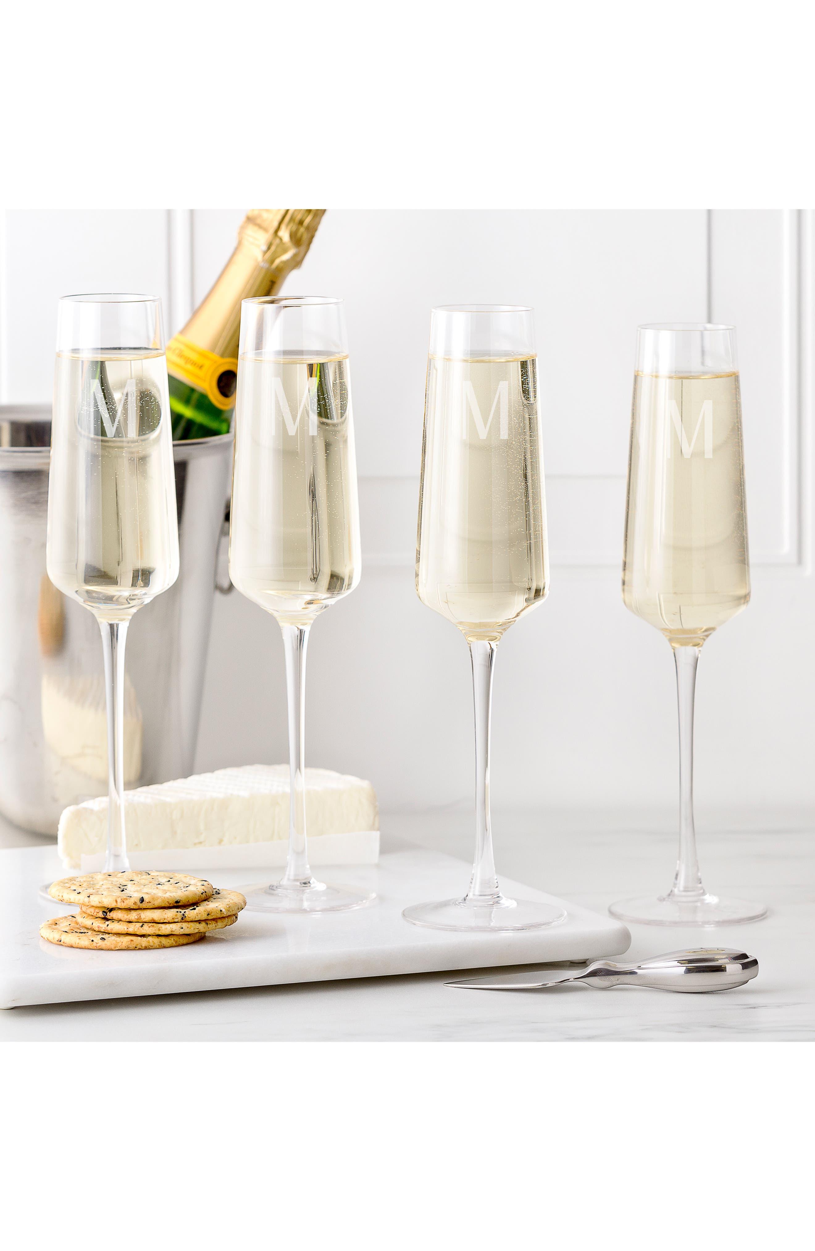 CATHY'S CONCEPTS, Estate Collection Set of 4 Monogram Champagne Flutes, Alternate thumbnail 4, color, A