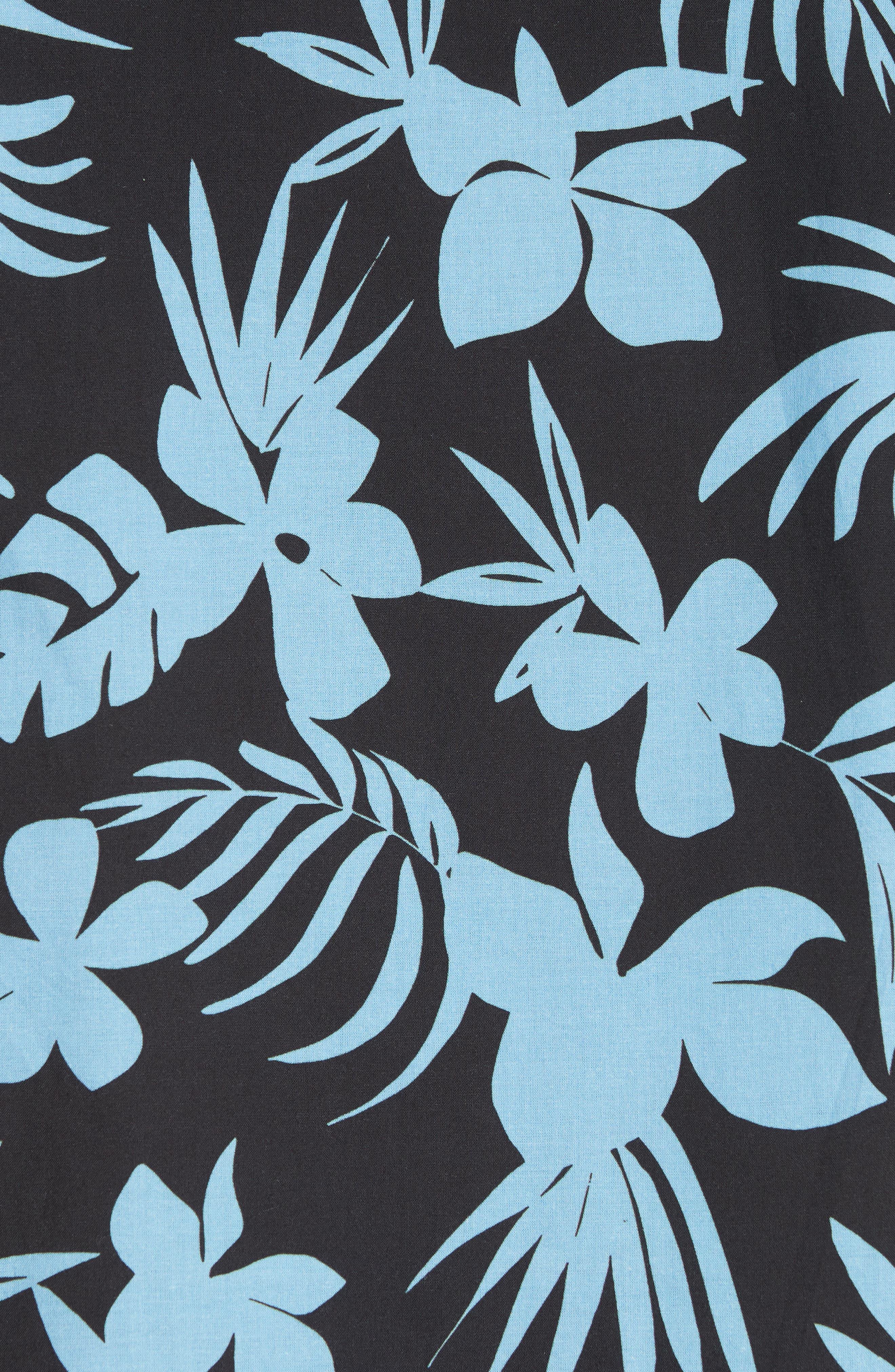 ONIA, Hibiscus Print Camp Shirt, Alternate thumbnail 5, color, BLACK