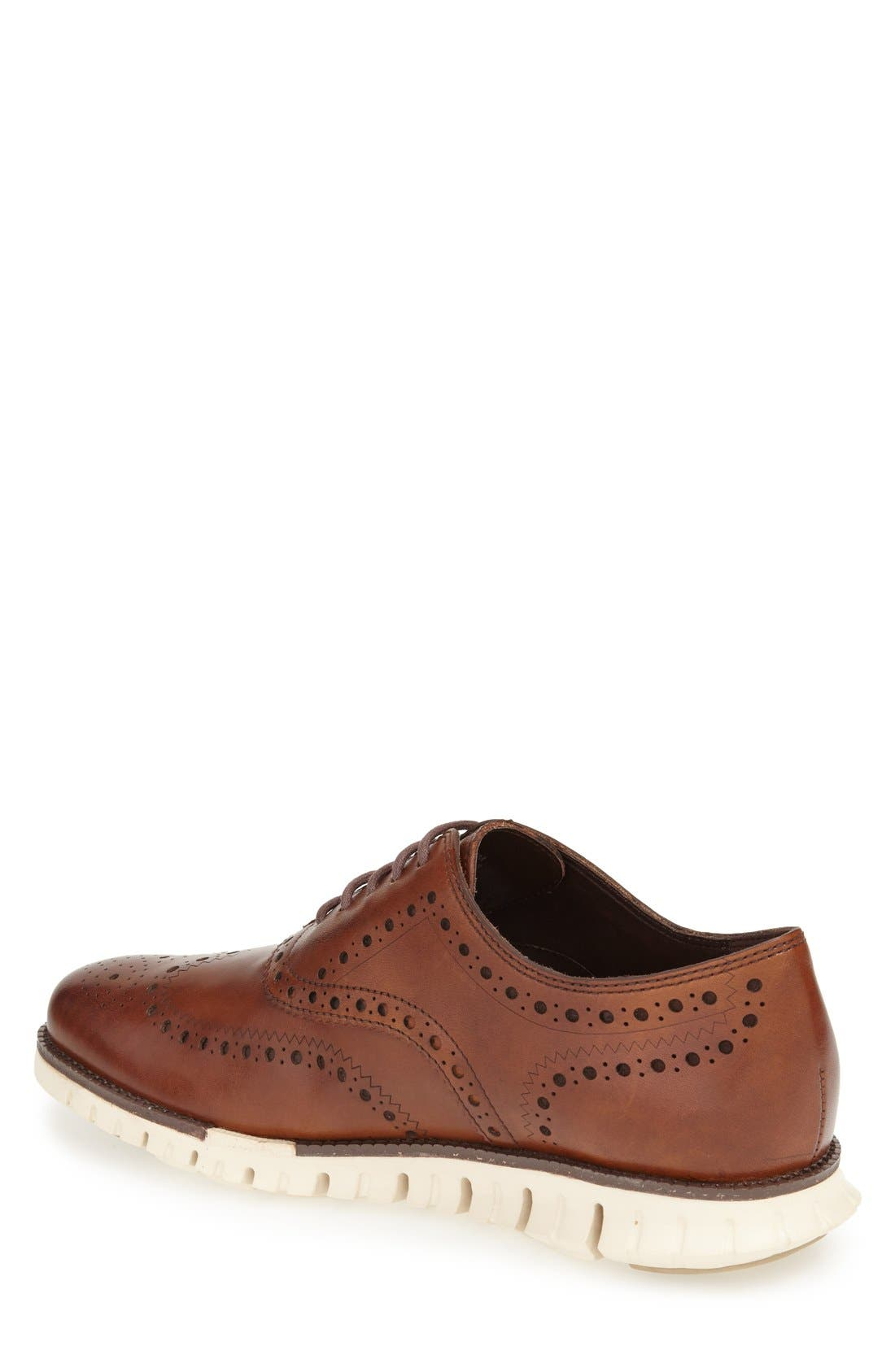 COLE HAAN, 'ZeroGrand' Wingtip Oxford, Alternate thumbnail 3, color, BRITISH TAN
