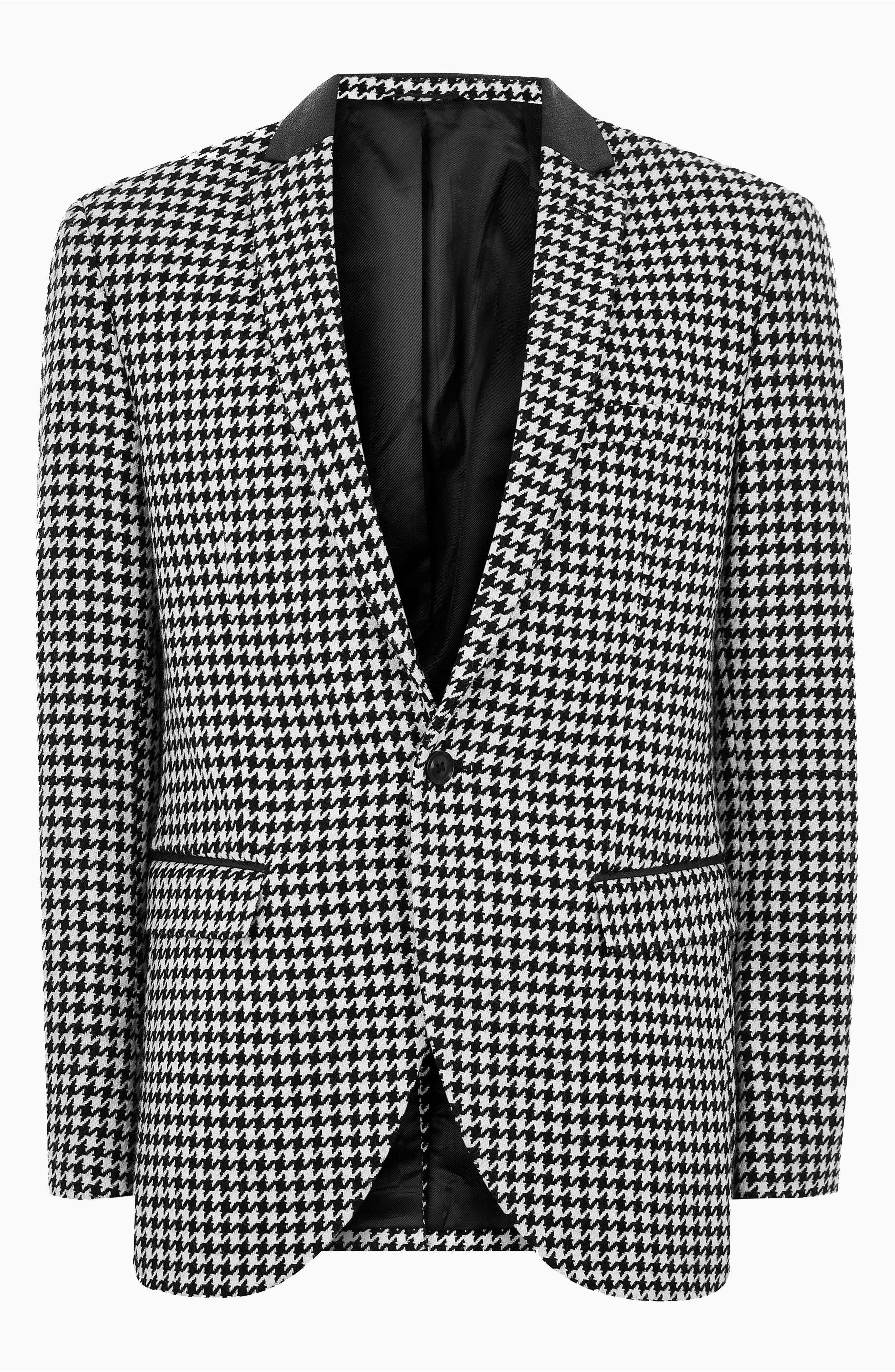 TOPMAN, Roe Skinny Fit Suit Jacket, Alternate thumbnail 6, color, 001