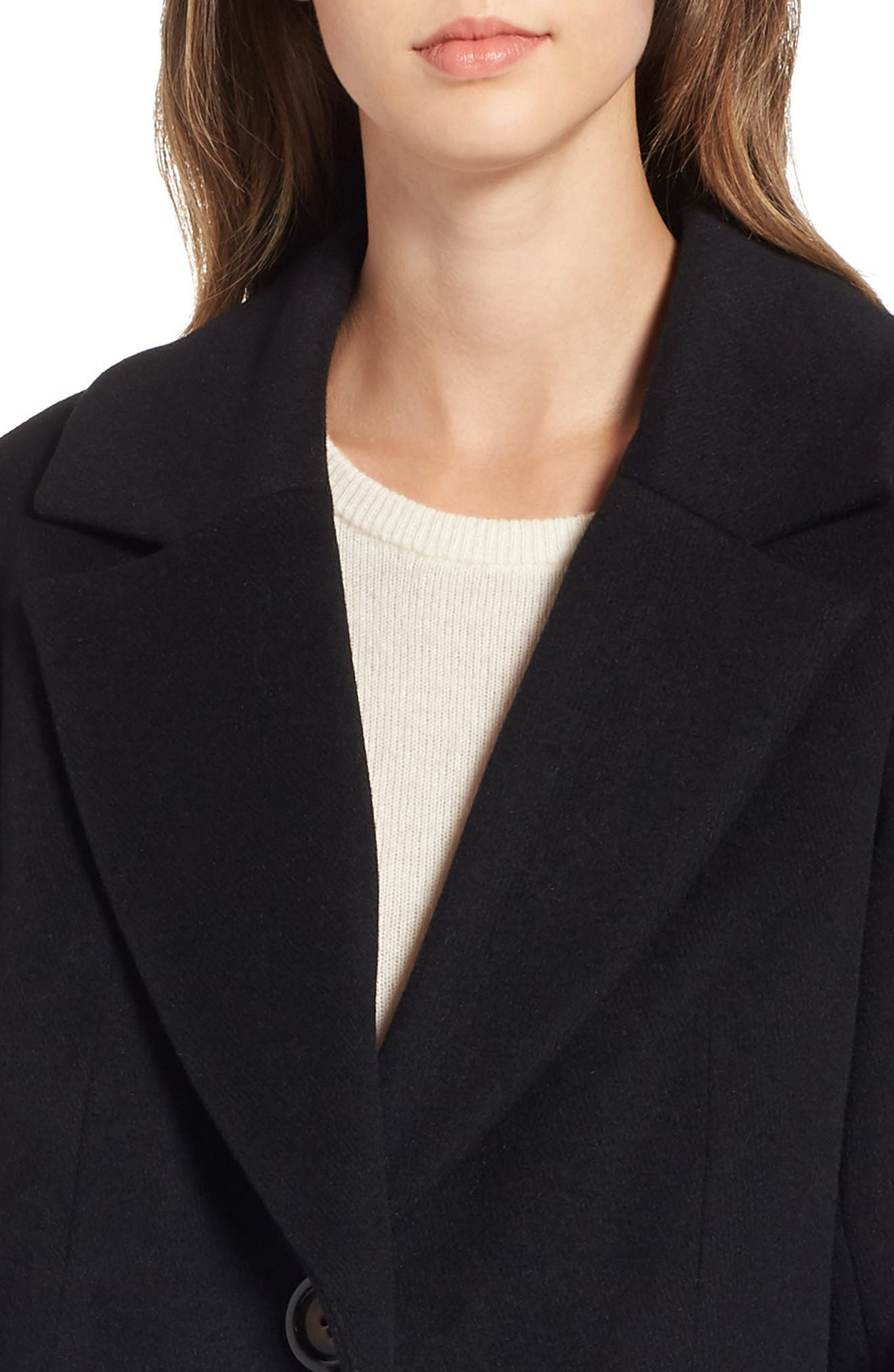 RACHEL RACHEL ROY, Wool Blend Coat, Alternate thumbnail 5, color, BLACK
