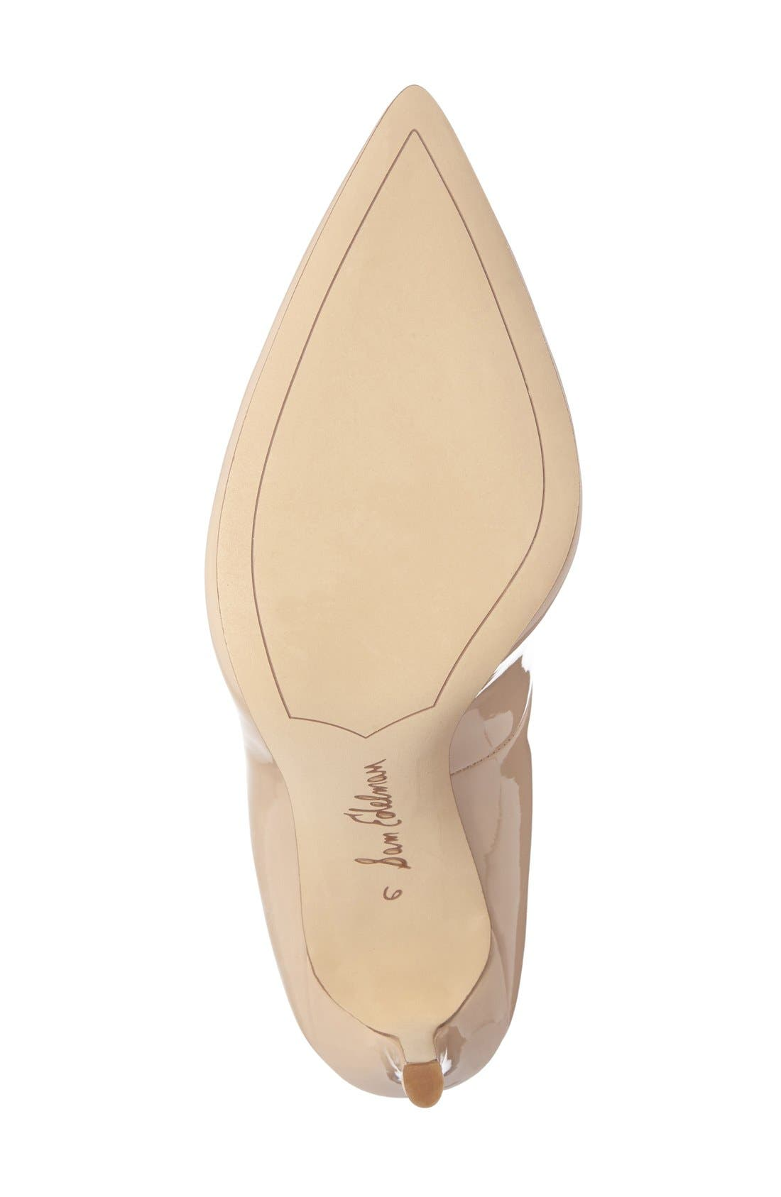 SAM EDELMAN, Hazel Pointy Toe Pump, Alternate thumbnail 7, color, NUDE LINEN PATENT LEATHER