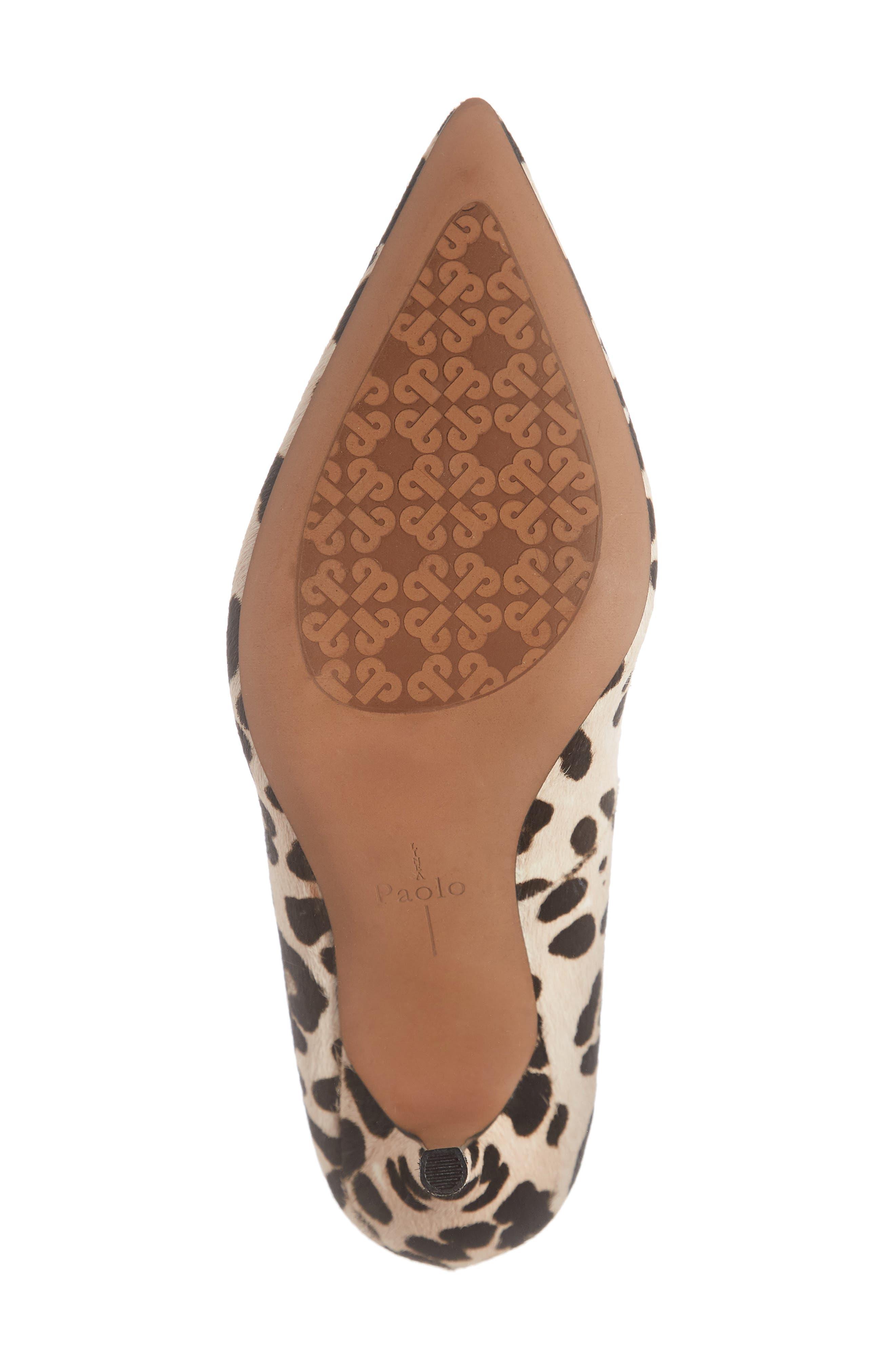 LINEA PAOLO, Payton Genuine Calf Hair Pointy Toe Pump, Alternate thumbnail 6, color, WHITE/ BLACK CALF HAIR