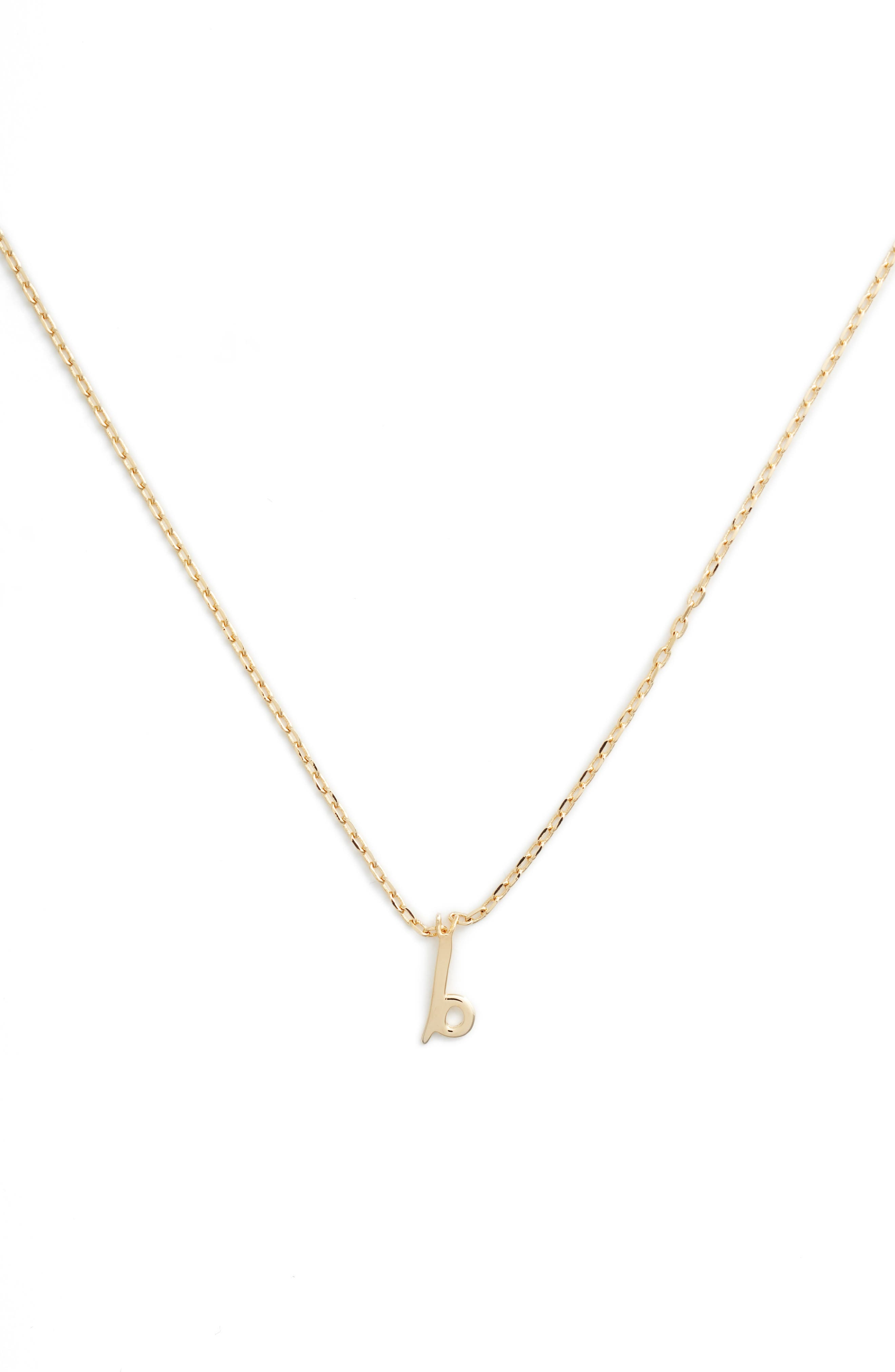 KATE SPADE NEW YORK, kate spade one in a million initial pendant necklace, Main thumbnail 1, color, B-GOLD