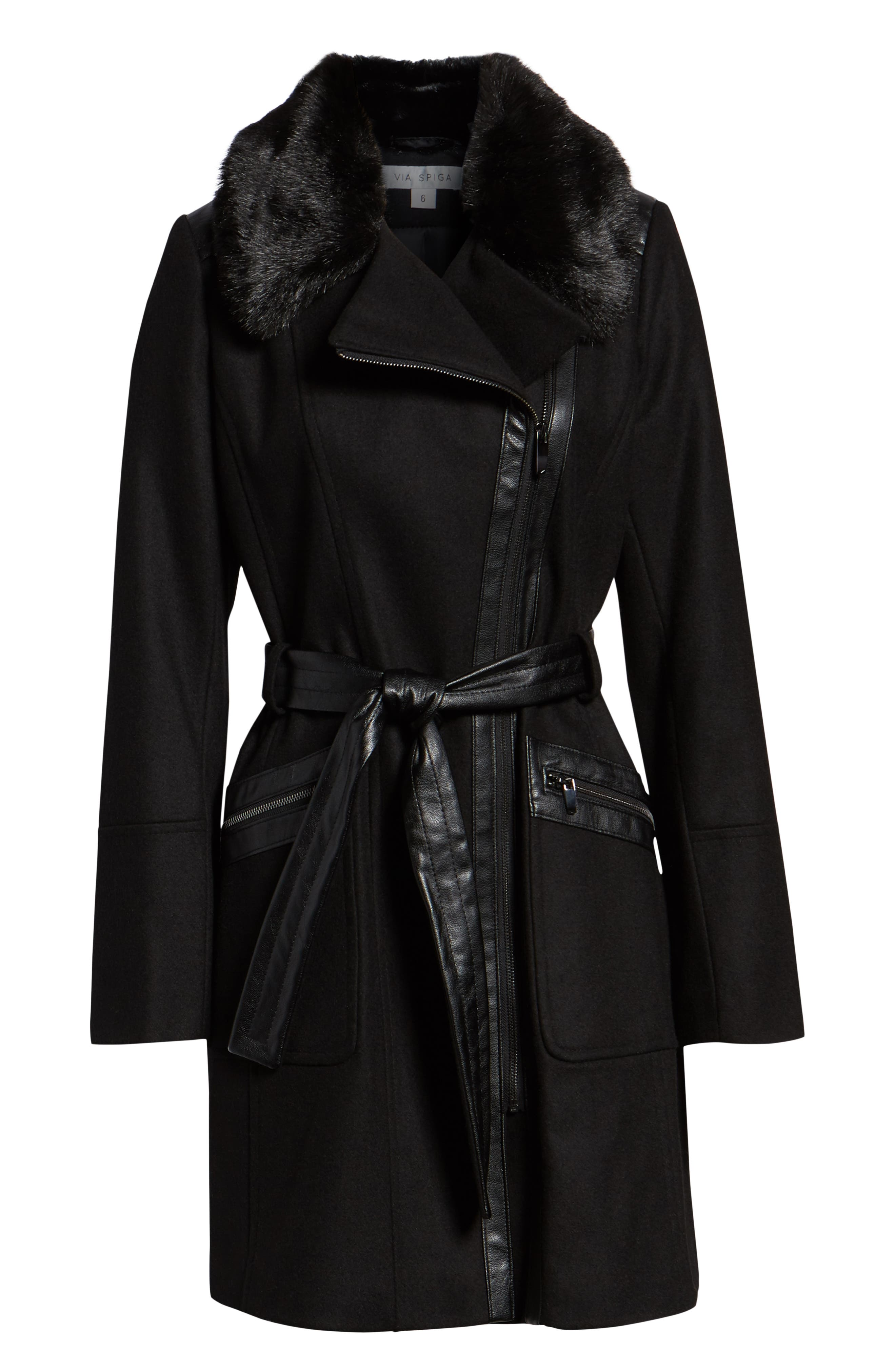 VIA SPIGA, Faux Fur Trim Belted Jacket, Alternate thumbnail 6, color, BLACK