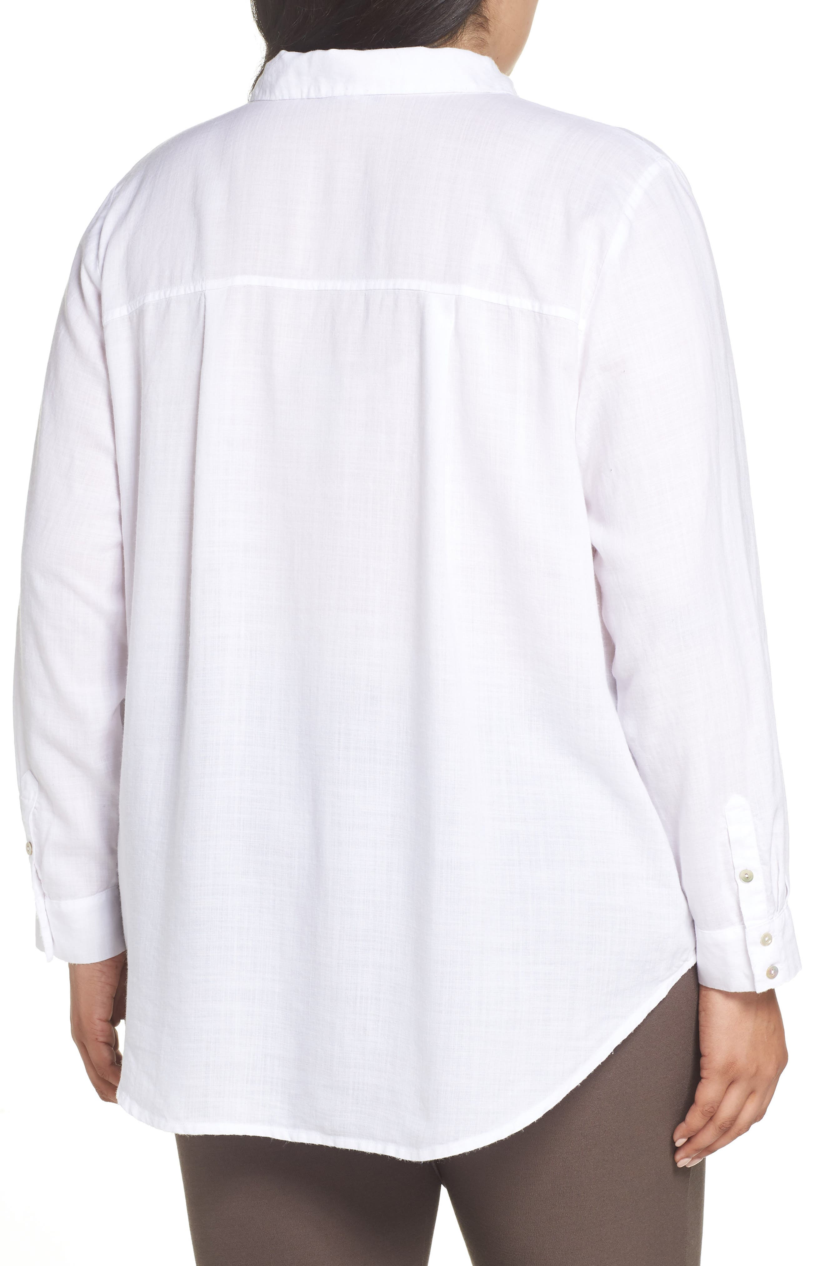 EILEEN FISHER, Tencel<sup>®</sup> Lyocell Shirt, Alternate thumbnail 2, color, WHITE