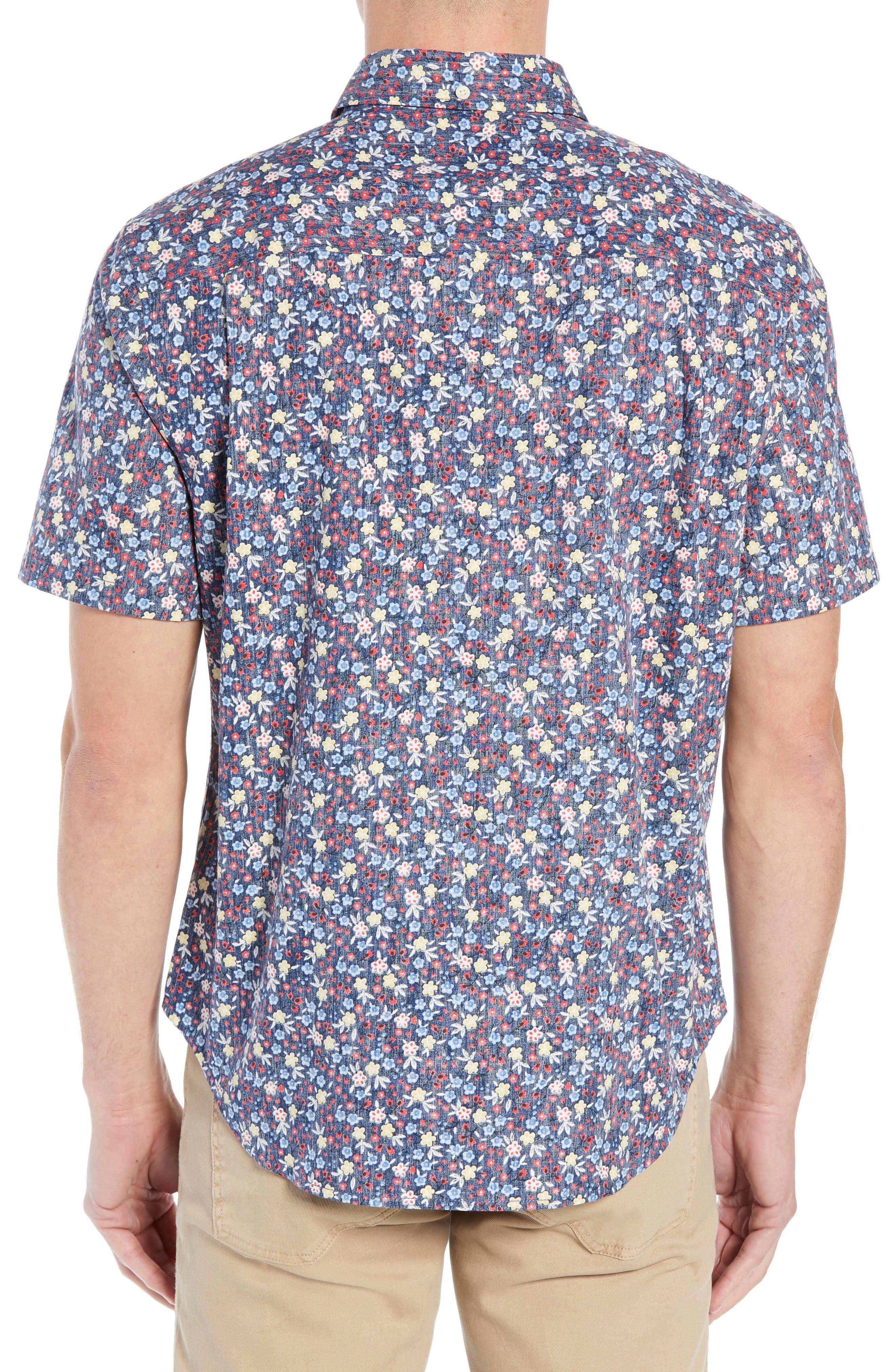 REYN SPOONER, Retro Tailored Fit Sport Shirt, Alternate thumbnail 3, color, MEDIEVAL BLUE