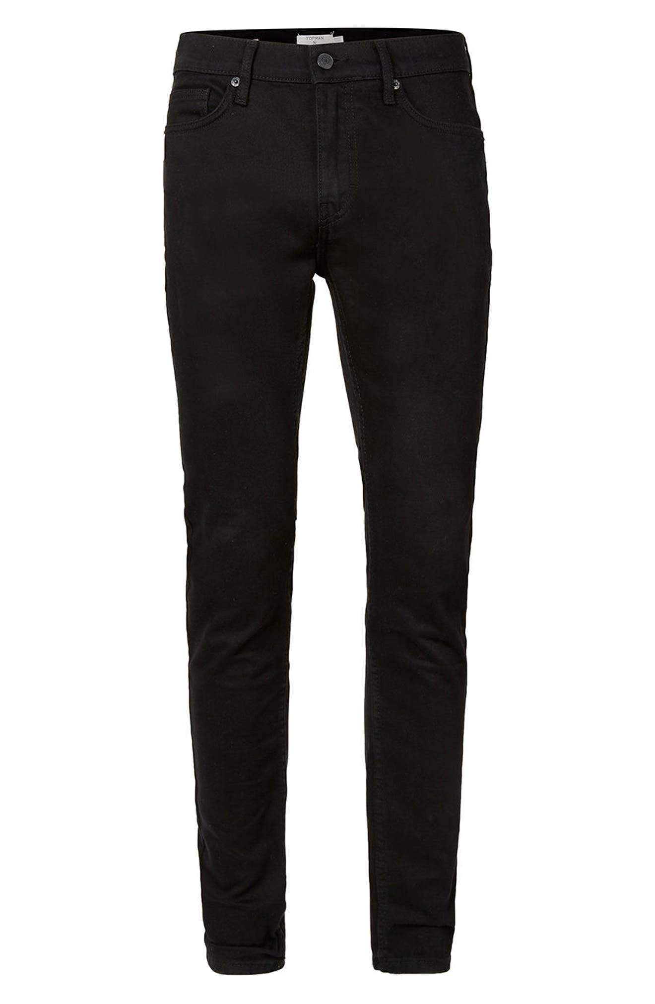 TOPMAN, Skinny Stretch Jeans, Alternate thumbnail 5, color, BLACK