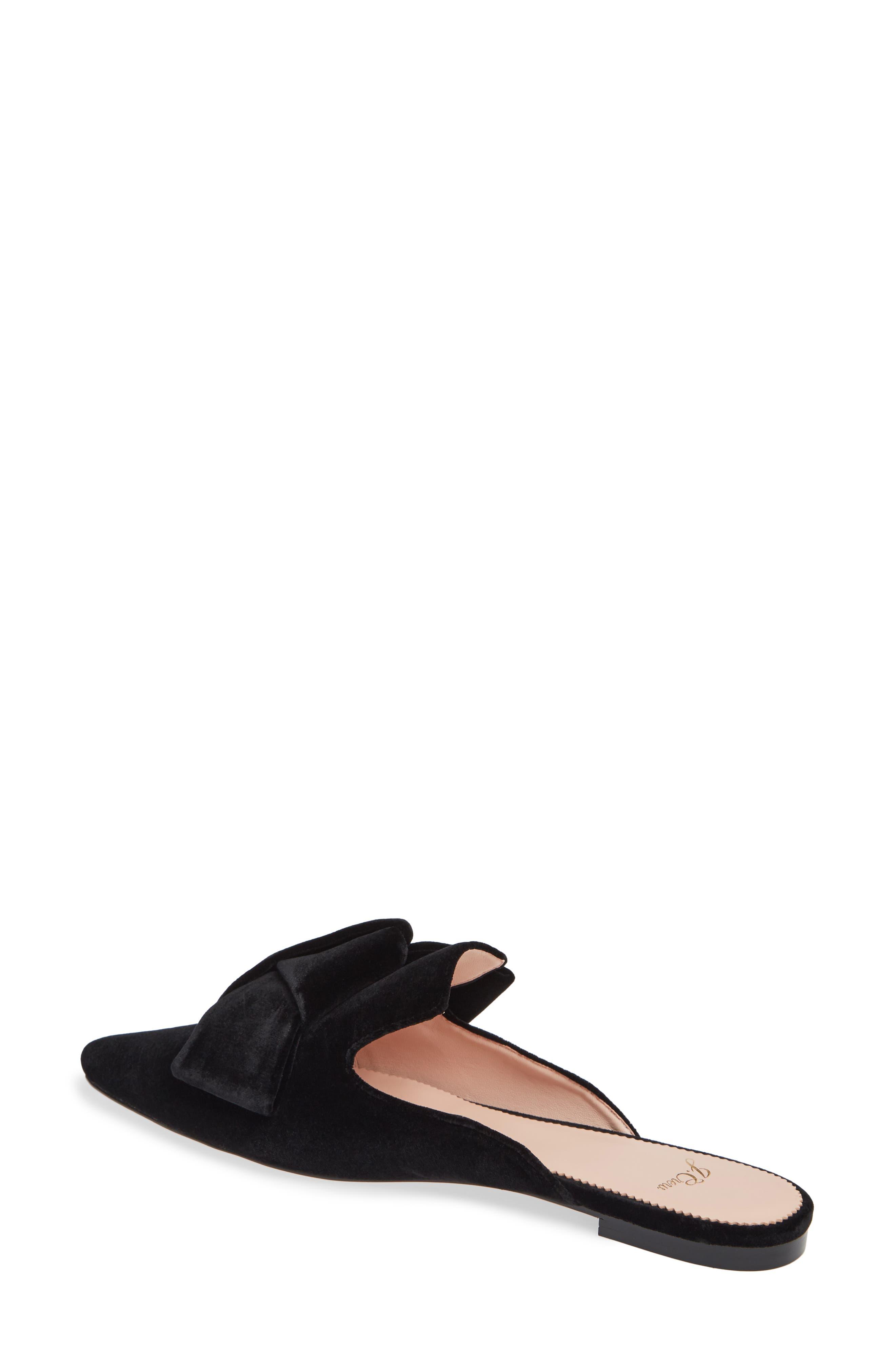 J.CREW, Pointed Toe Slide Sandal, Alternate thumbnail 2, color, BLACK VELVET