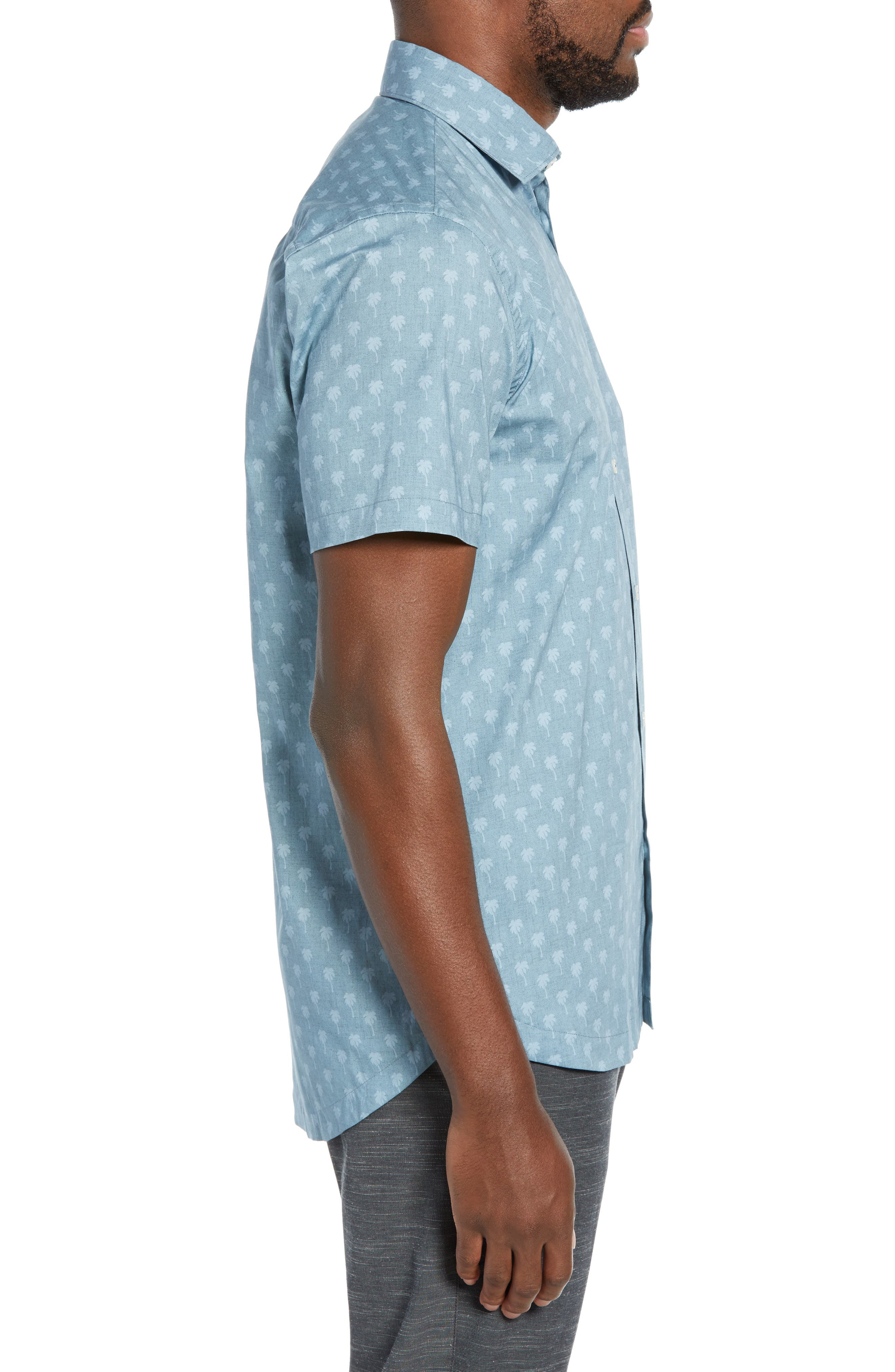 DEVEREUX, Cabana Regular Fit Sport Shirt, Alternate thumbnail 4, color, PALMS