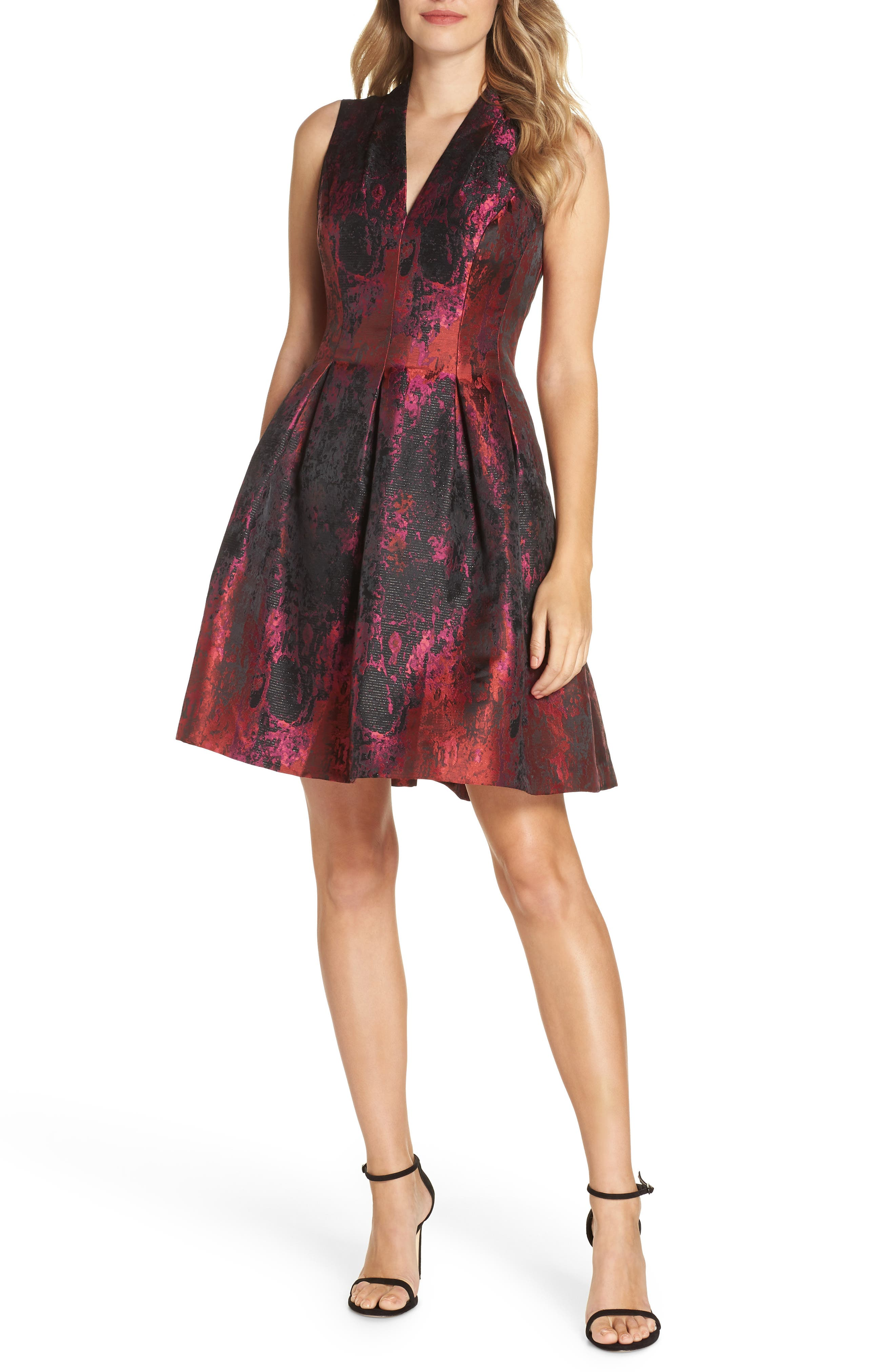 VINCE CAMUTO Jacquard Fit & Flare Dress, Main, color, 653