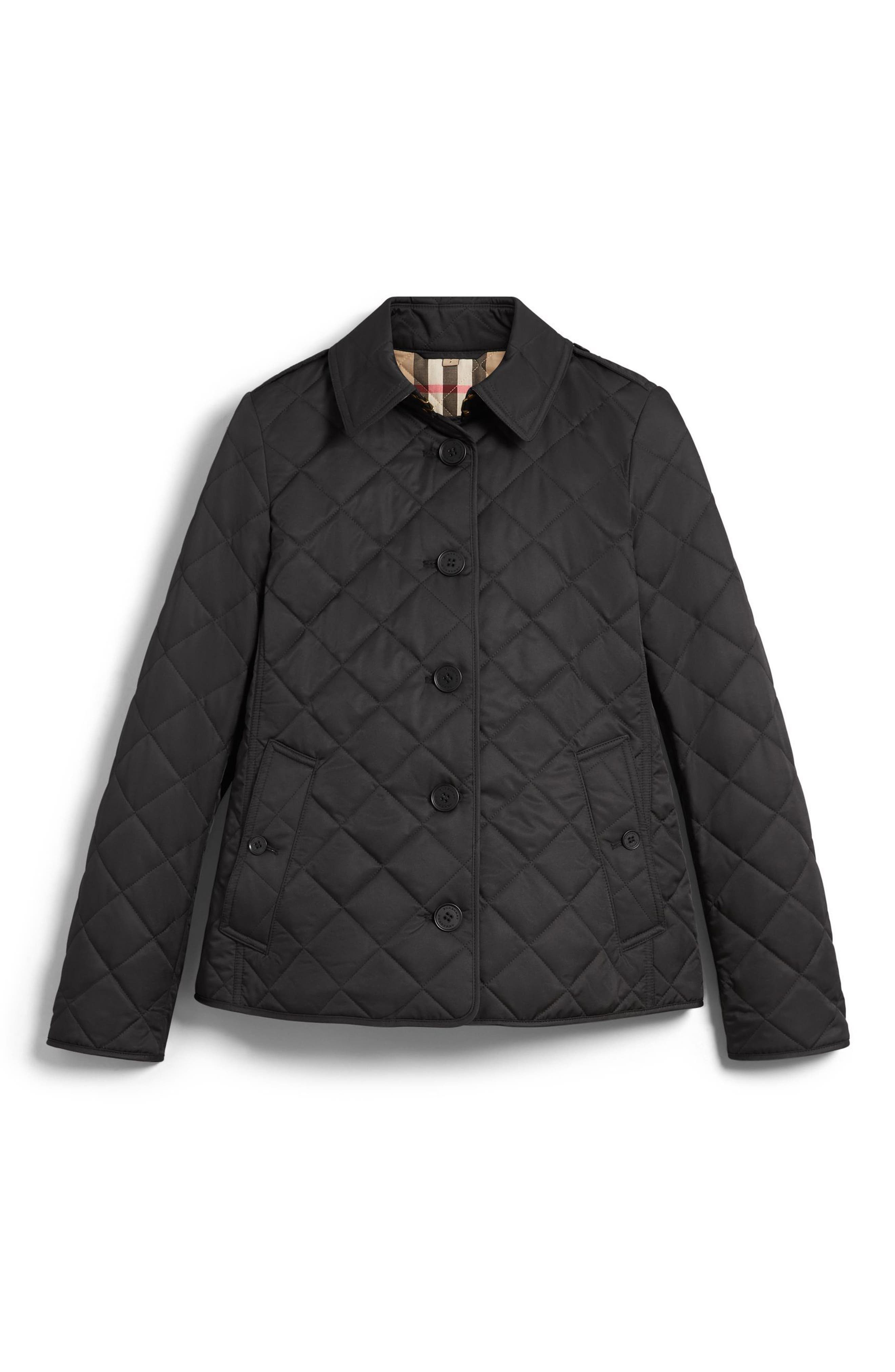 BURBERRY, Frankby Quilted Jacket, Alternate thumbnail 5, color, 001