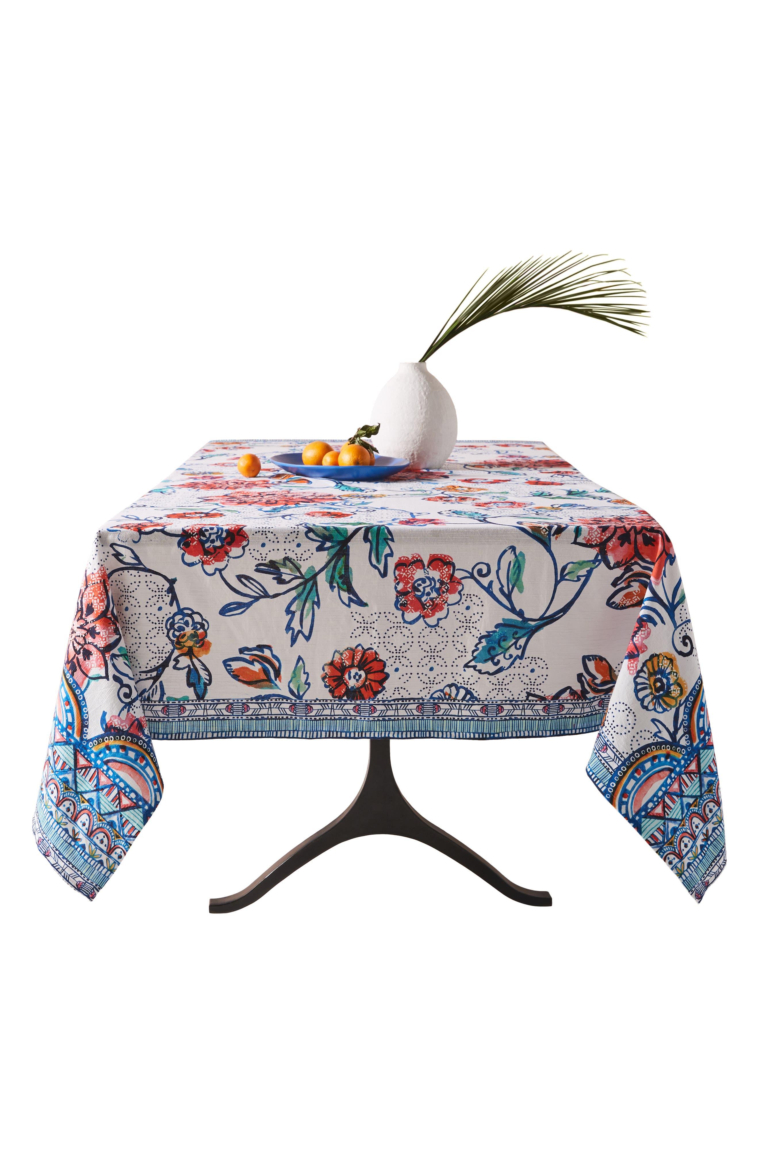 ANTHROPOLOGIE, Belinda Tablecloth, Alternate thumbnail 4, color, TURQ